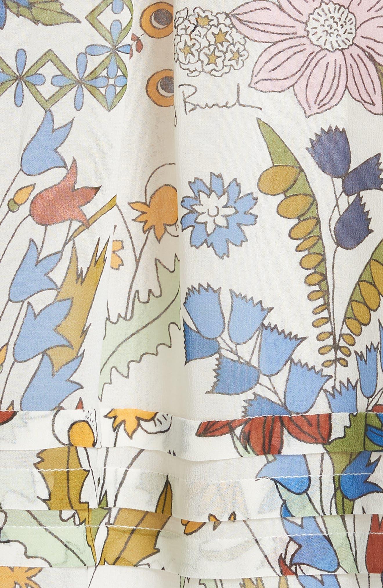Waverly Floral Print Silk Midi Dress,                             Alternate thumbnail 5, color,                             902