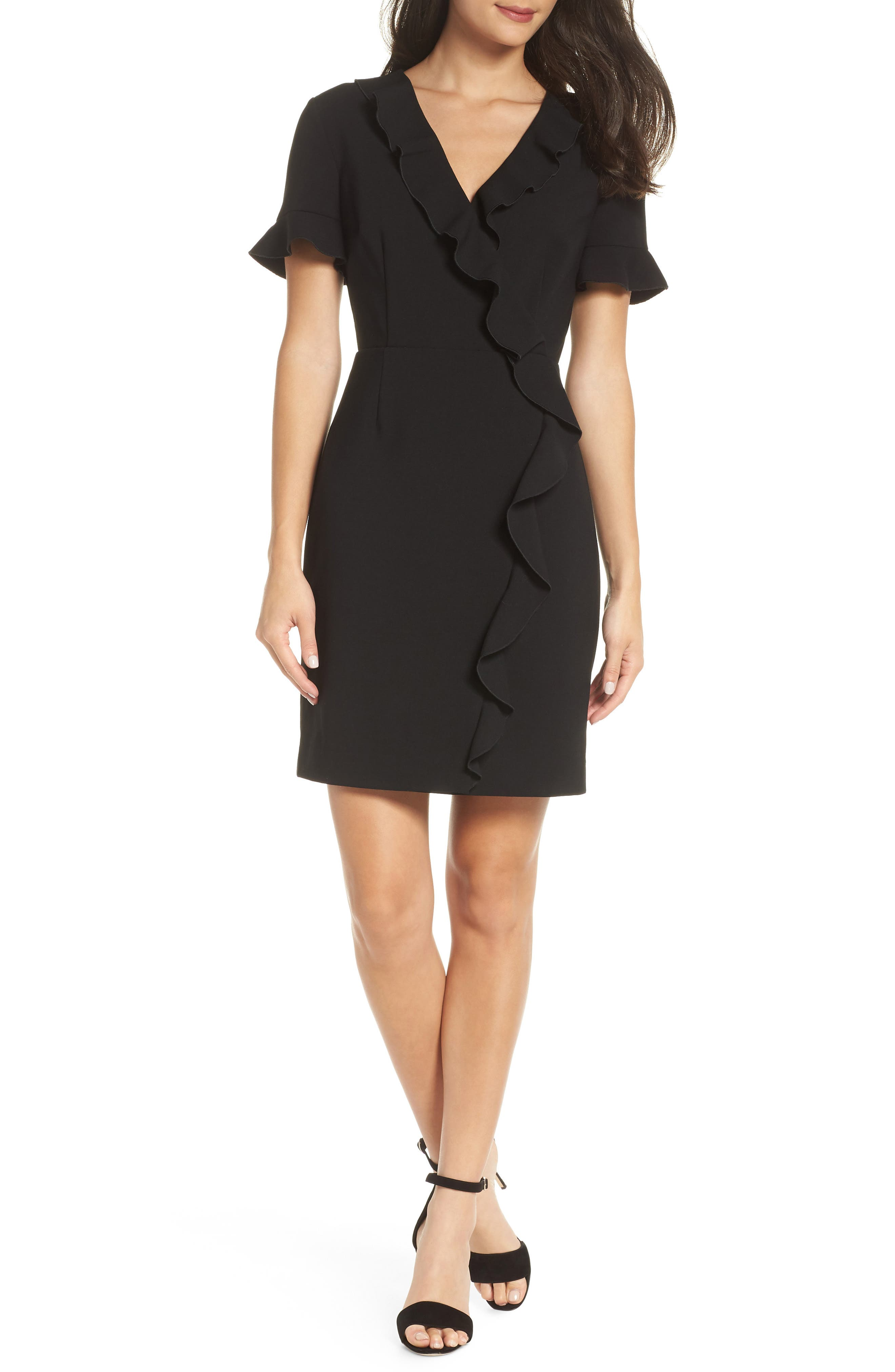 French Connection Alianor Stretch Frill Dress, Black