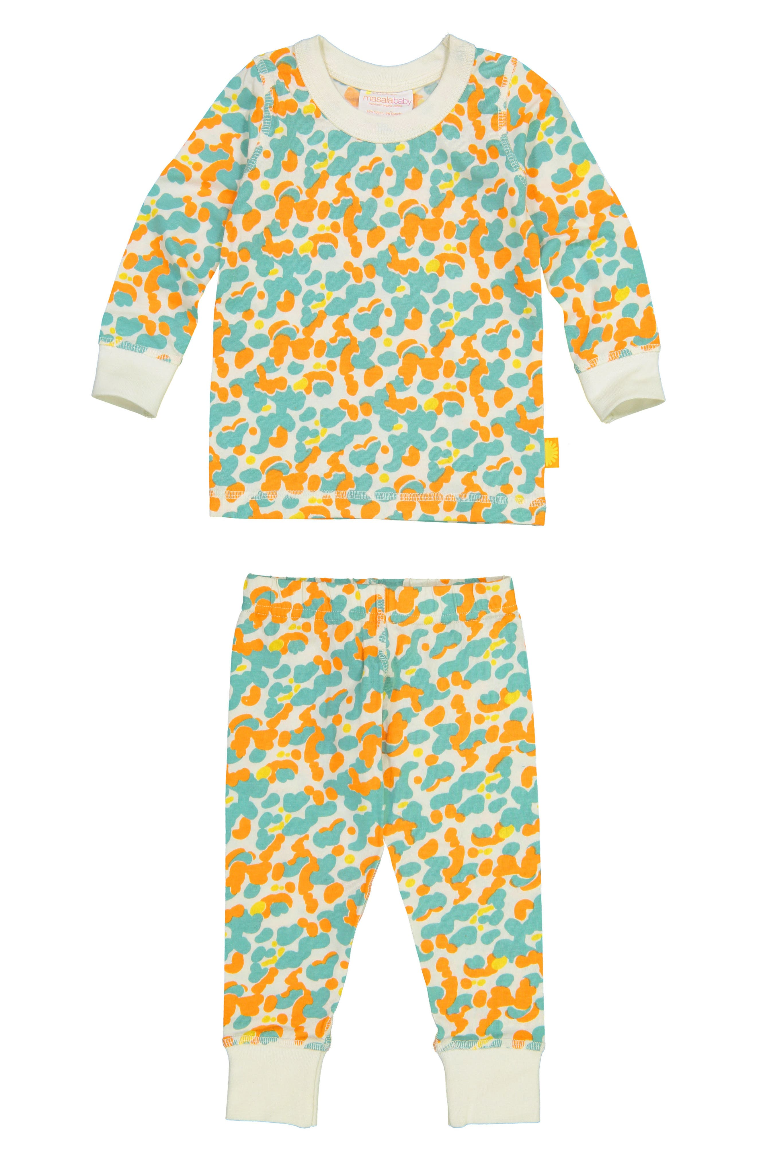 Spotted Organic Cotton Fitted Two-Piece Pajamas,                             Main thumbnail 1, color,                             424