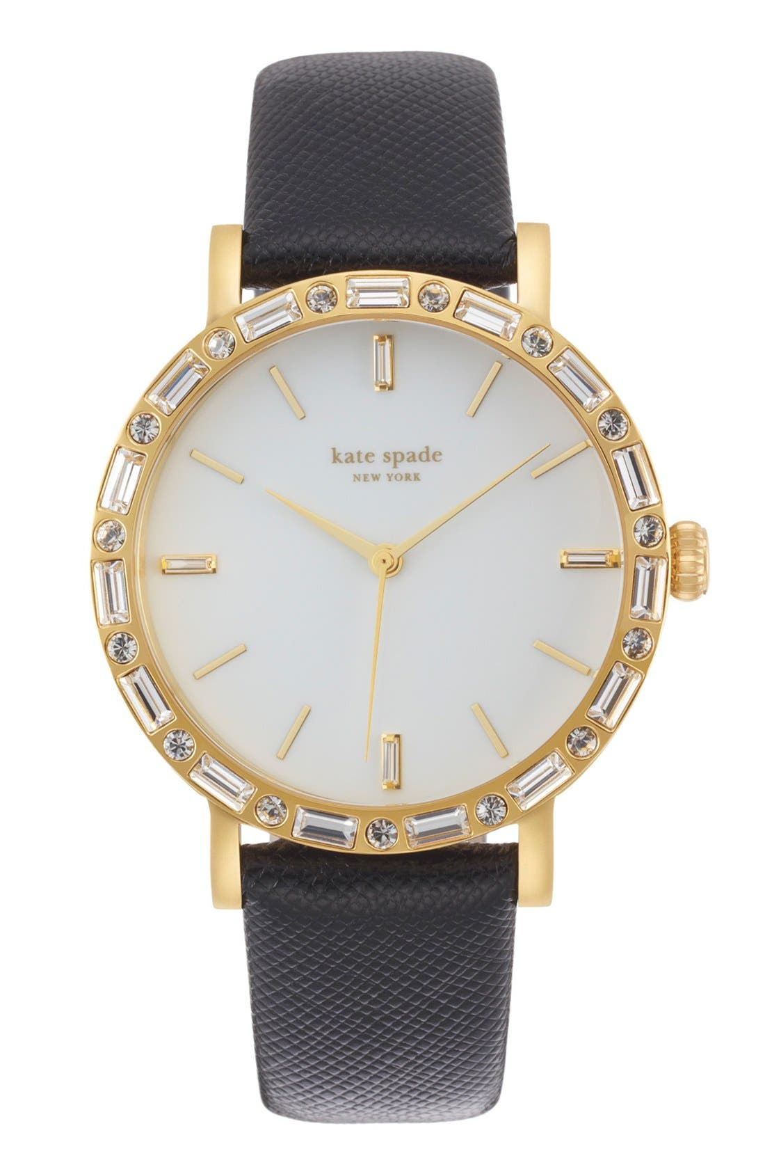 KATE SPADE NEW YORK,                             'metro' crystal bezel watch & straps set, 38mm,                             Alternate thumbnail 4, color,                             001