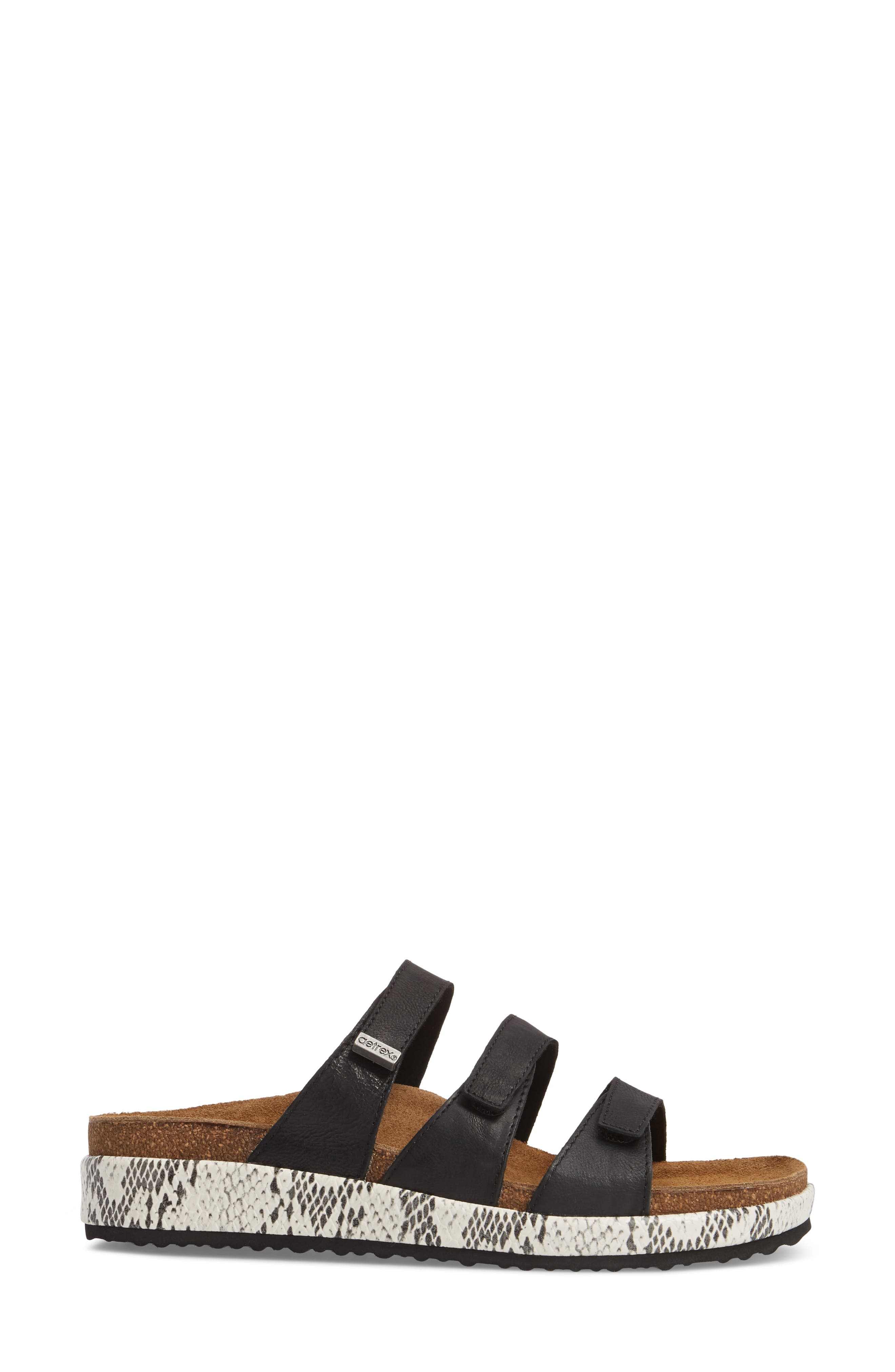 Isabelle Slide Sandal,                             Alternate thumbnail 3, color,                             BLACK LEATHER