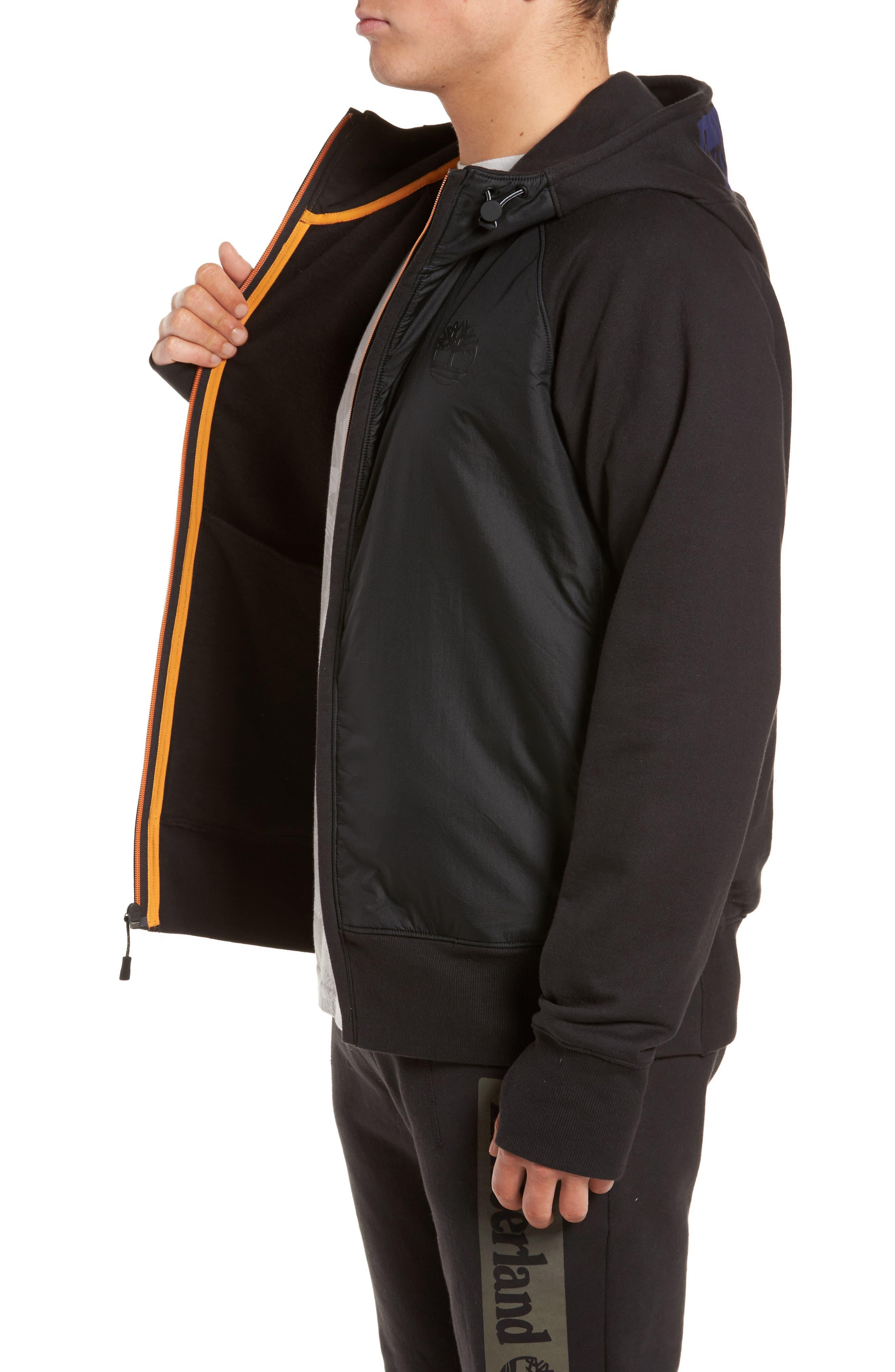 Mixed Media Hooded Jacket,                             Alternate thumbnail 3, color,                             001