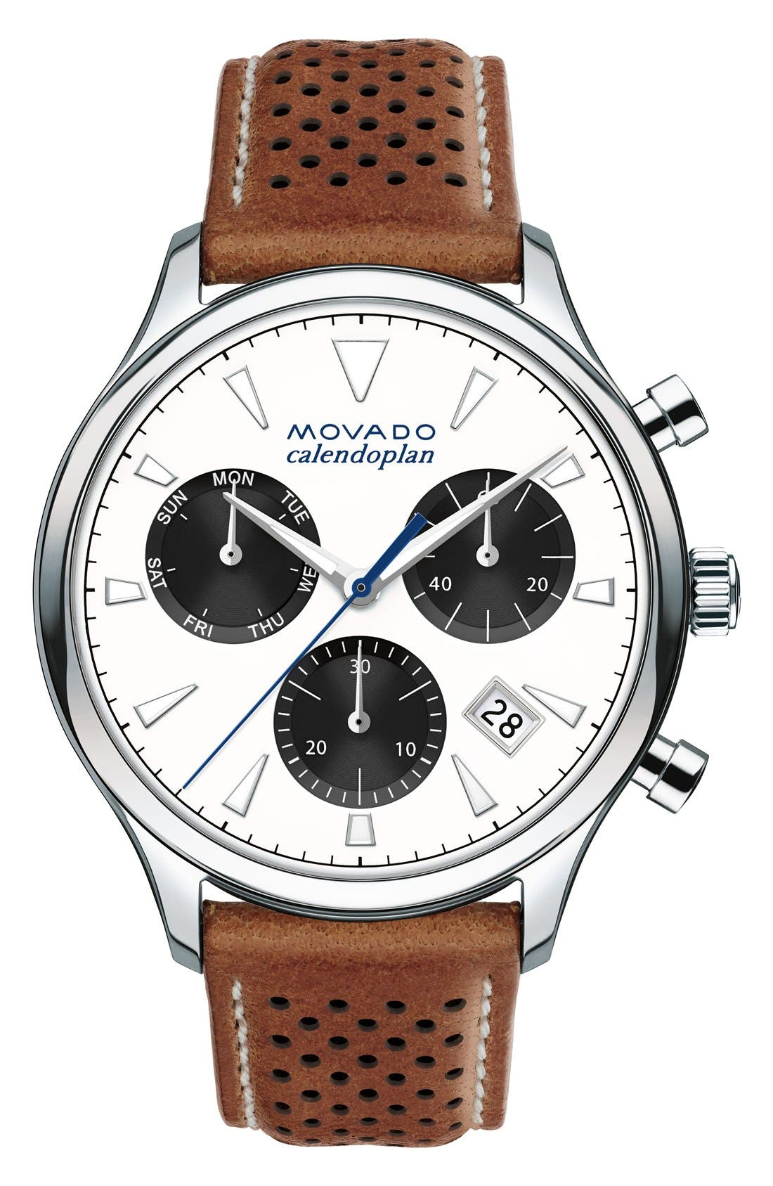 MOVADO,                             'Heritage' Chronograph Leather Strap Watch, 43mm,                             Main thumbnail 1, color,                             100