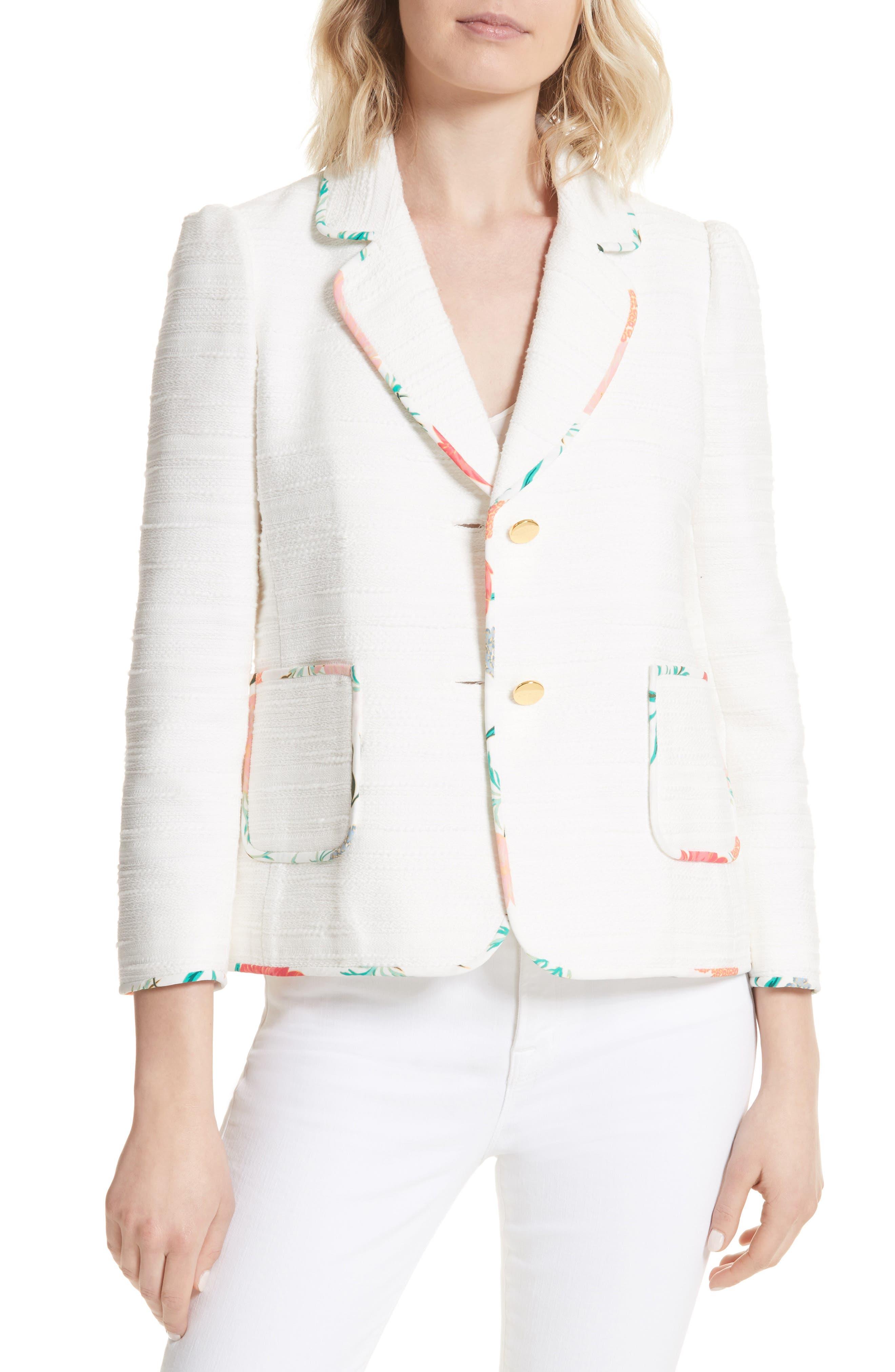 blossom trim tweed jacket,                             Main thumbnail 2, color,