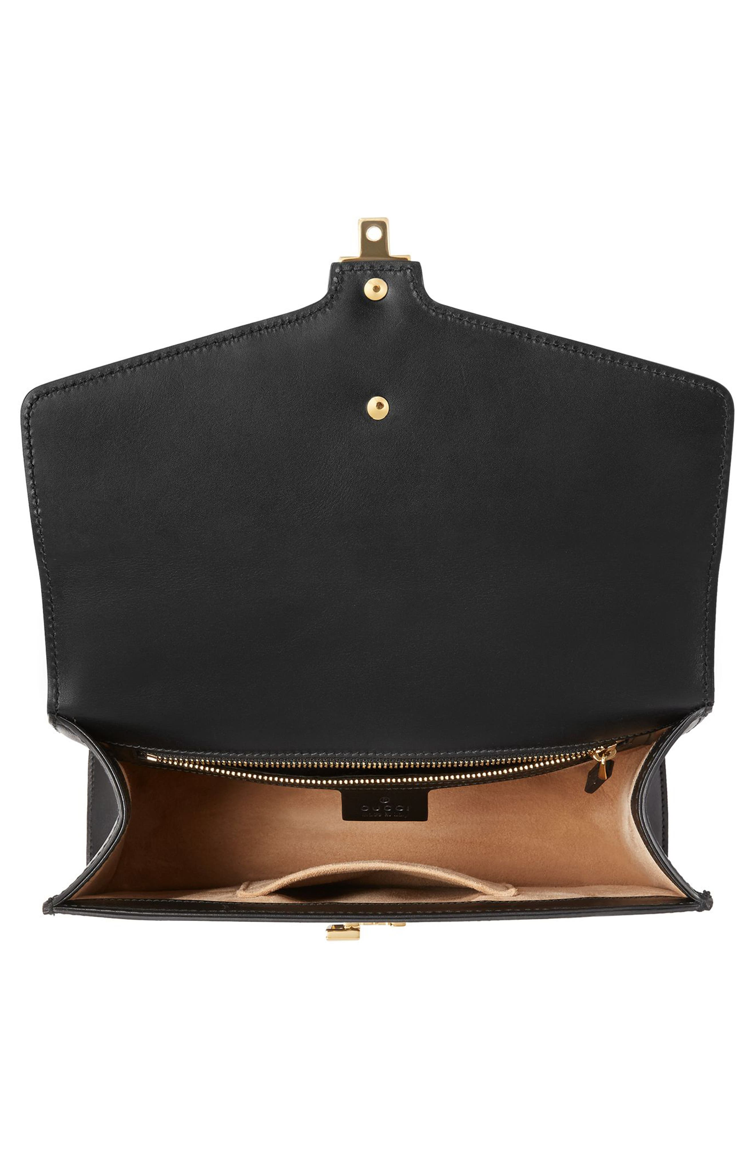 Small Sylvie Leather Shoulder Bag,                             Alternate thumbnail 3, color,                             NERO/ VRV/ BRB