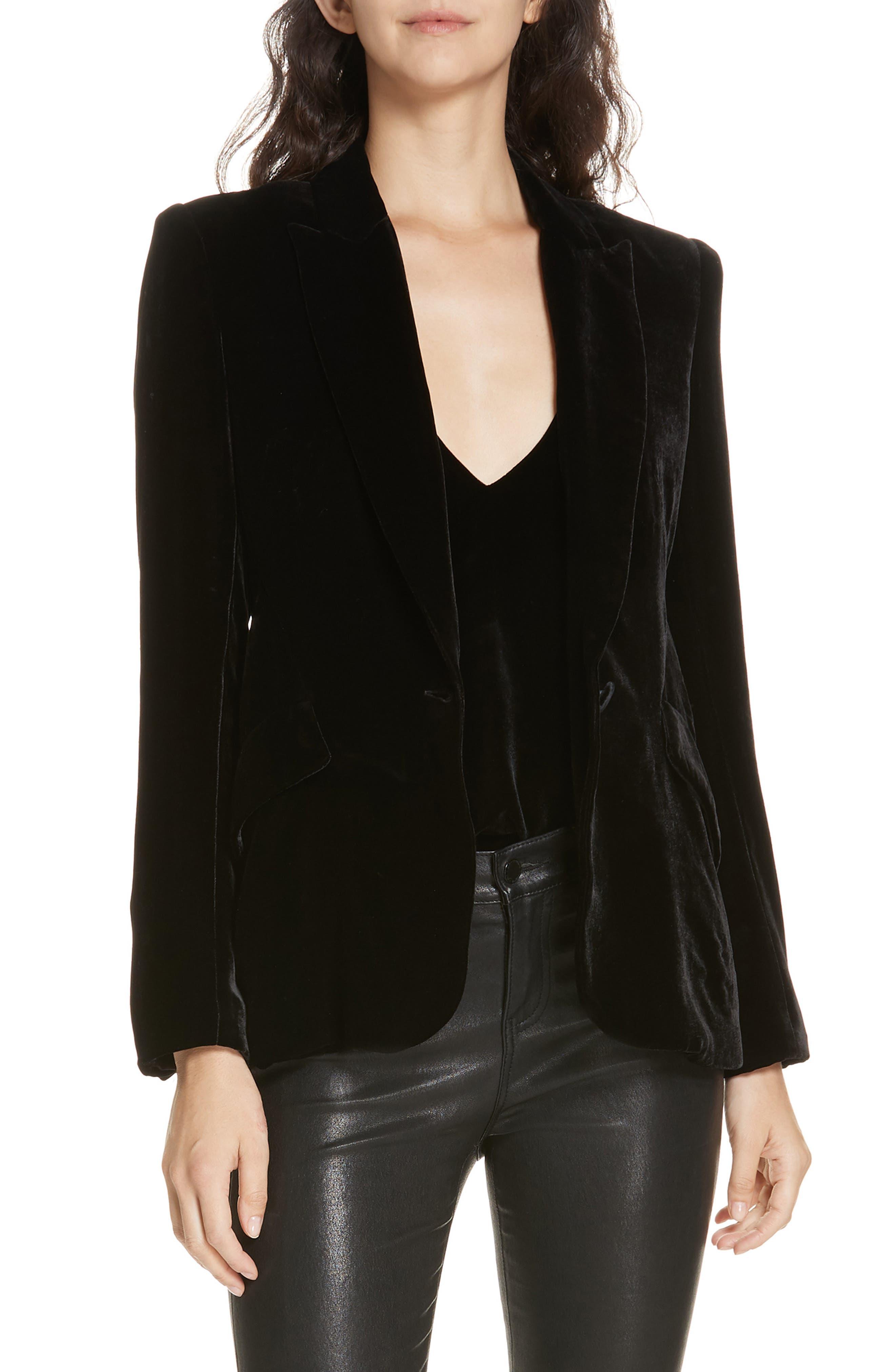Velvet Blazer,                         Main,                         color, BLACK