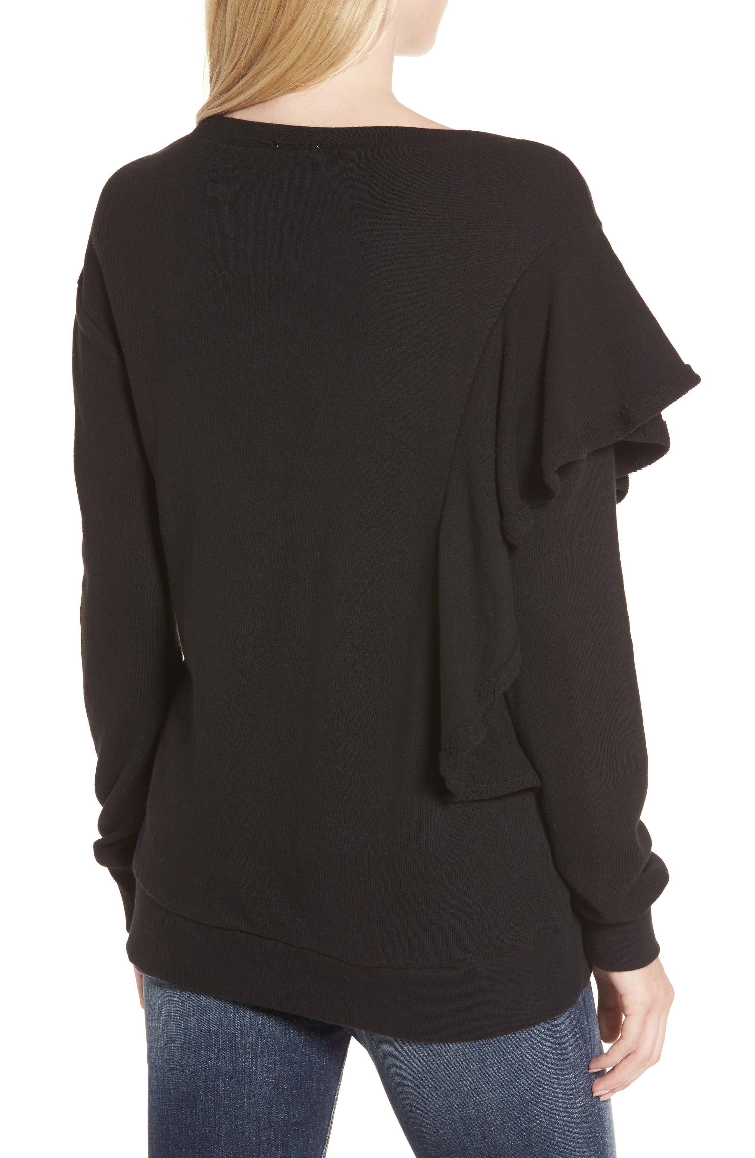 West Fourth Ruffle Sweatshirt,                             Alternate thumbnail 2, color,                             001