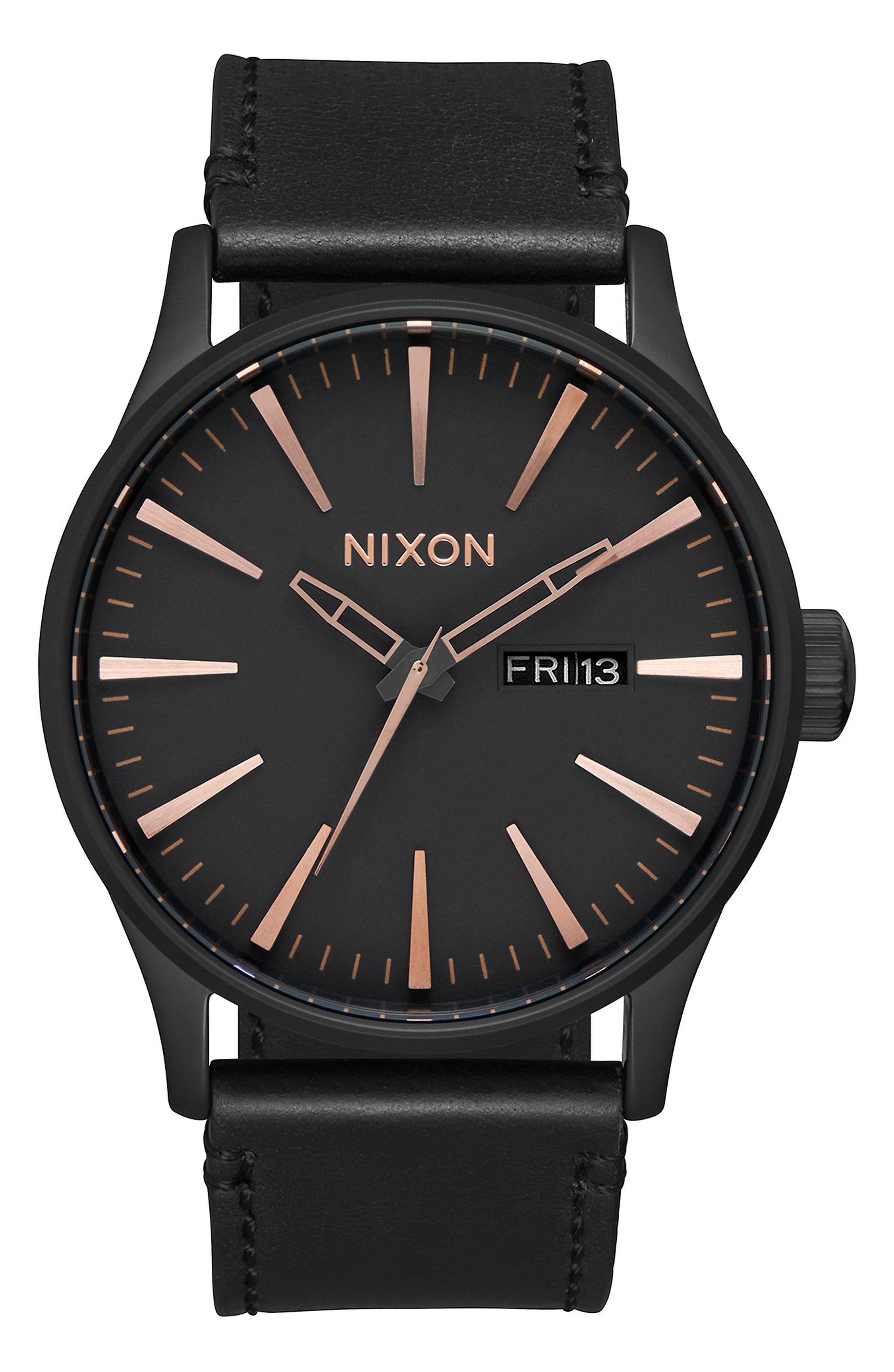 The Sentry Leather Strap Watch, 42mm,                             Alternate thumbnail 2, color,                             BLACK/ ROSE GOLD