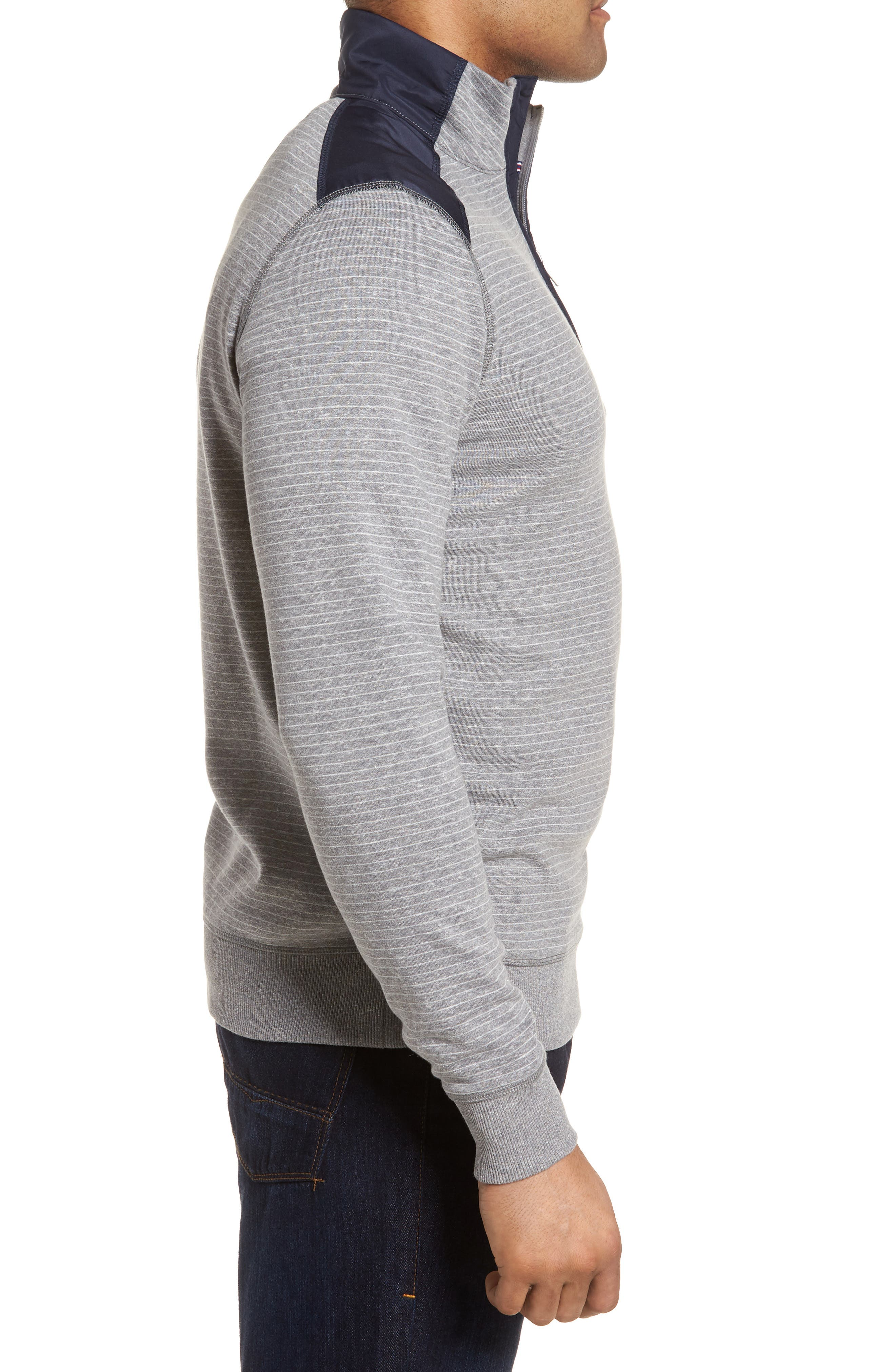 Regular Fit Stripe Quarter Zip Pullover,                             Alternate thumbnail 11, color,