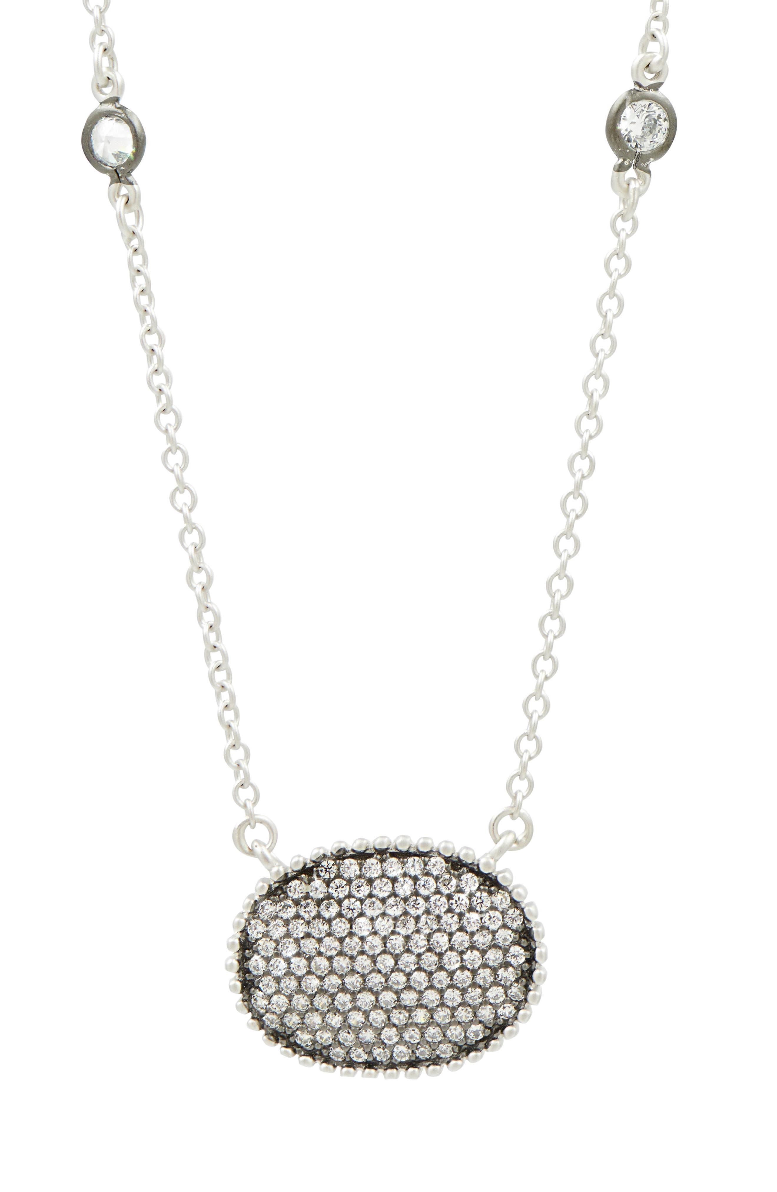 Oval Pendant Necklace,                         Main,                         color, SILVER/ BLACK RHODIUM