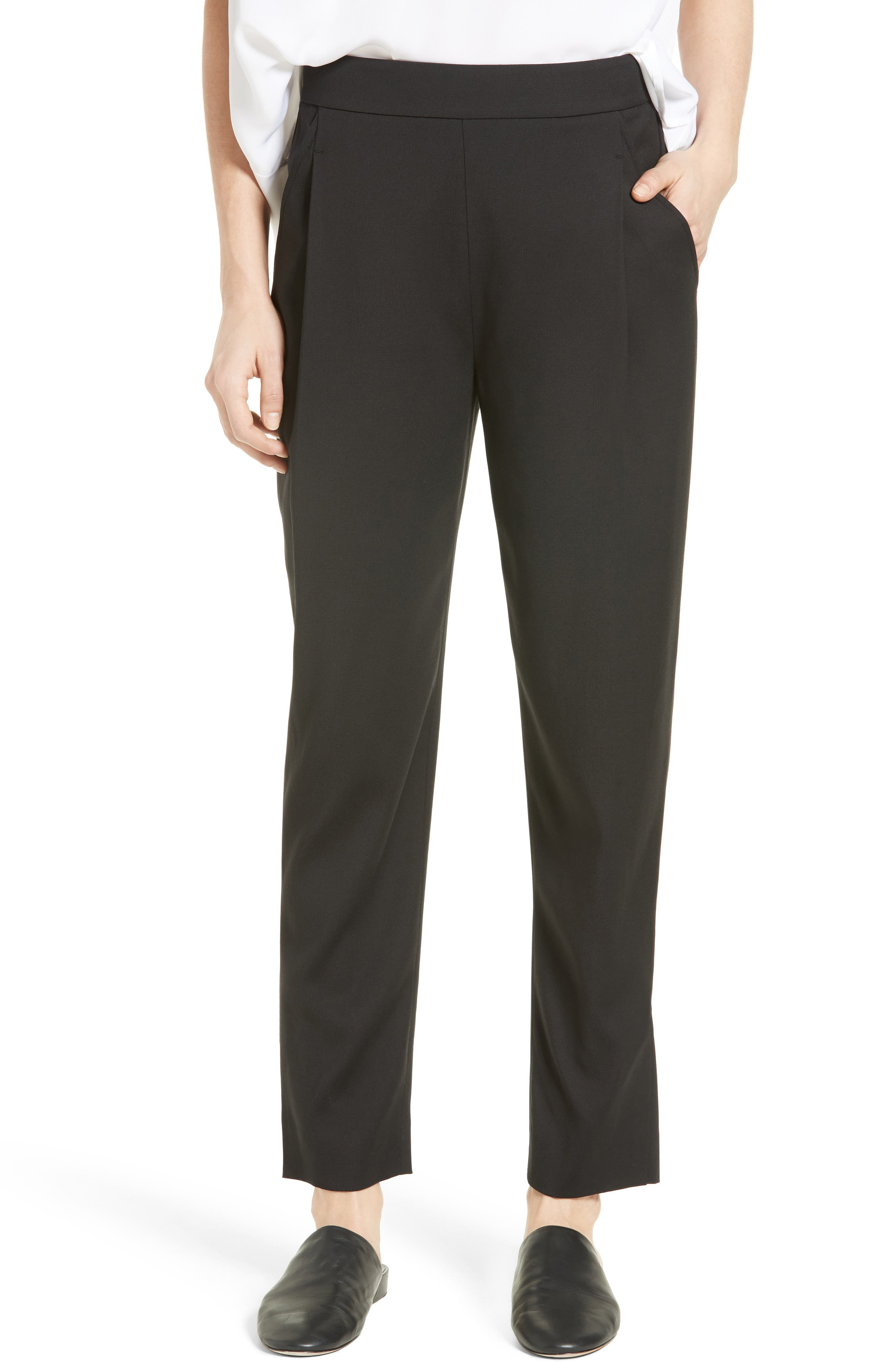 Pleated Pull-On Track Trousers,                             Main thumbnail 1, color,                             001