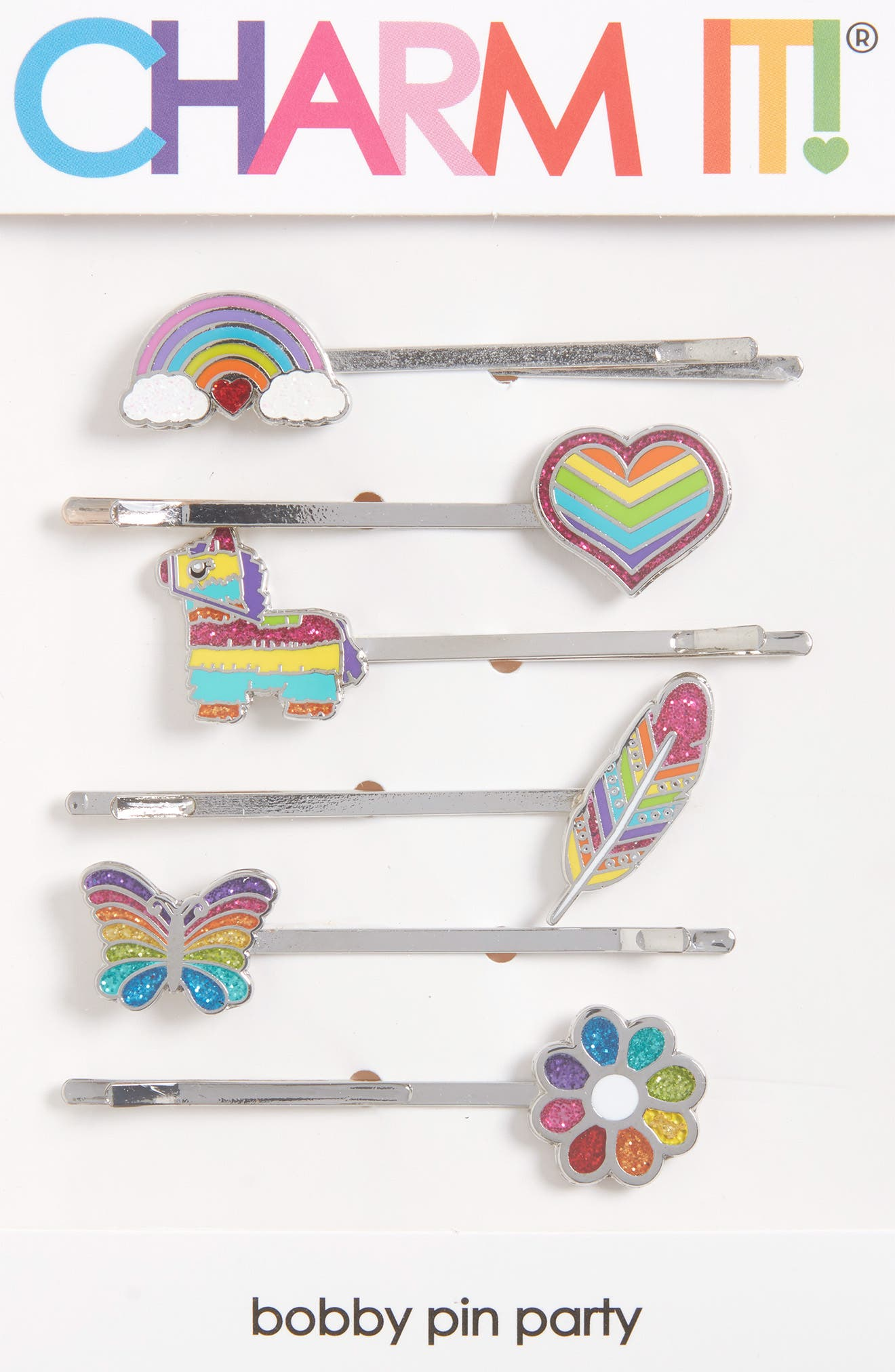 CHARM IT!<sup>®</sup> Party 6-Pack Rainbow Bobby Pins,                             Alternate thumbnail 3, color,
