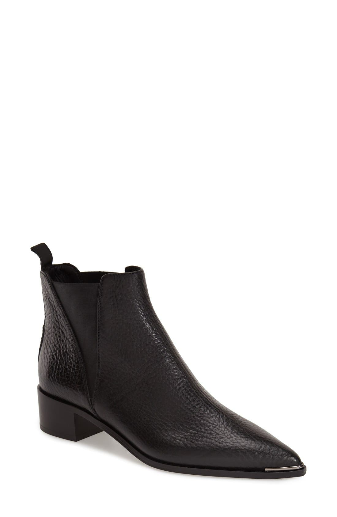 Jensen Pointy Toe Bootie,                             Main thumbnail 1, color,                             BLACK GRAIN LEATHER