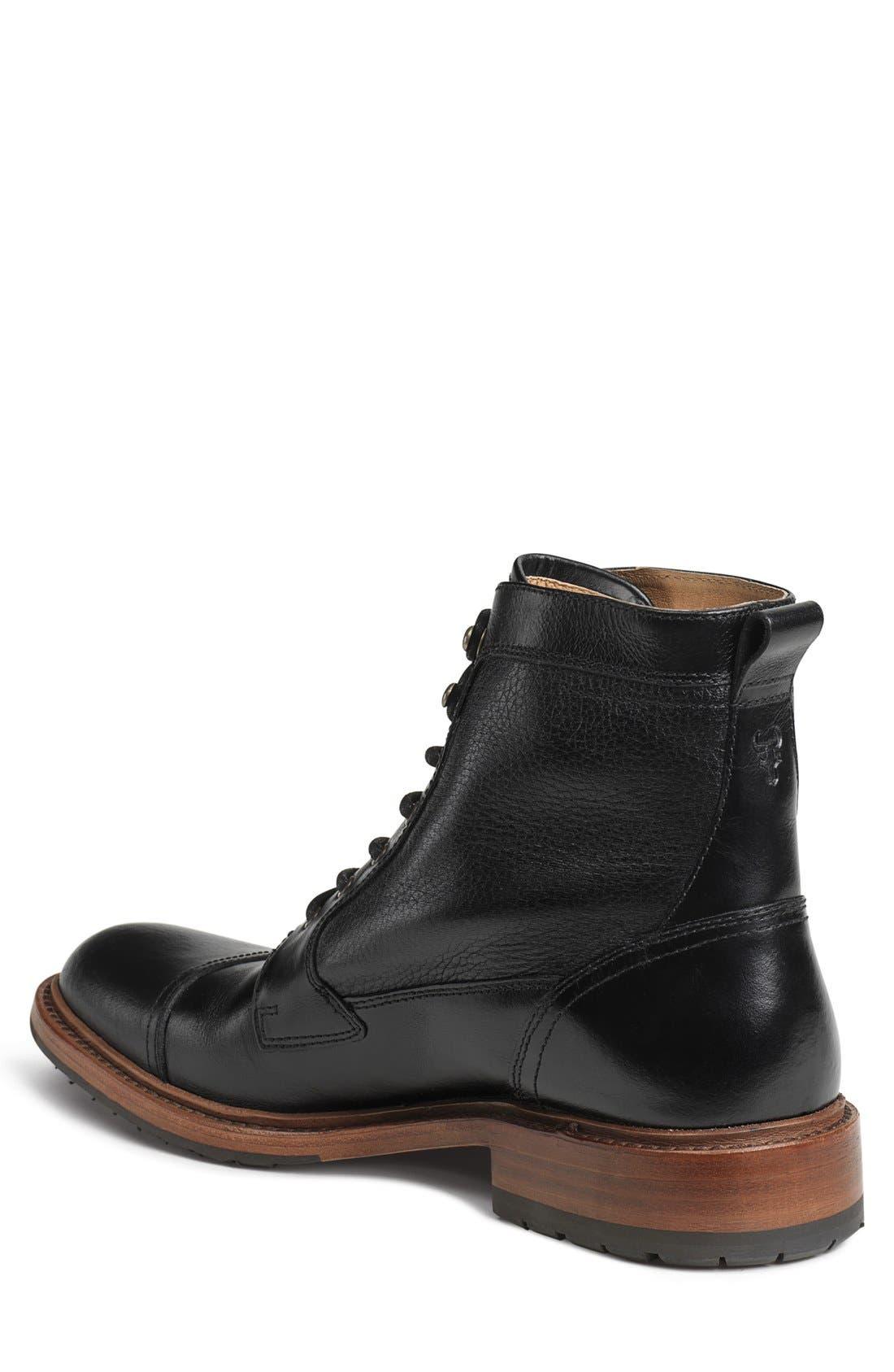 'Lowell' Cap Toe Boot,                             Alternate thumbnail 2, color,                             BLACK