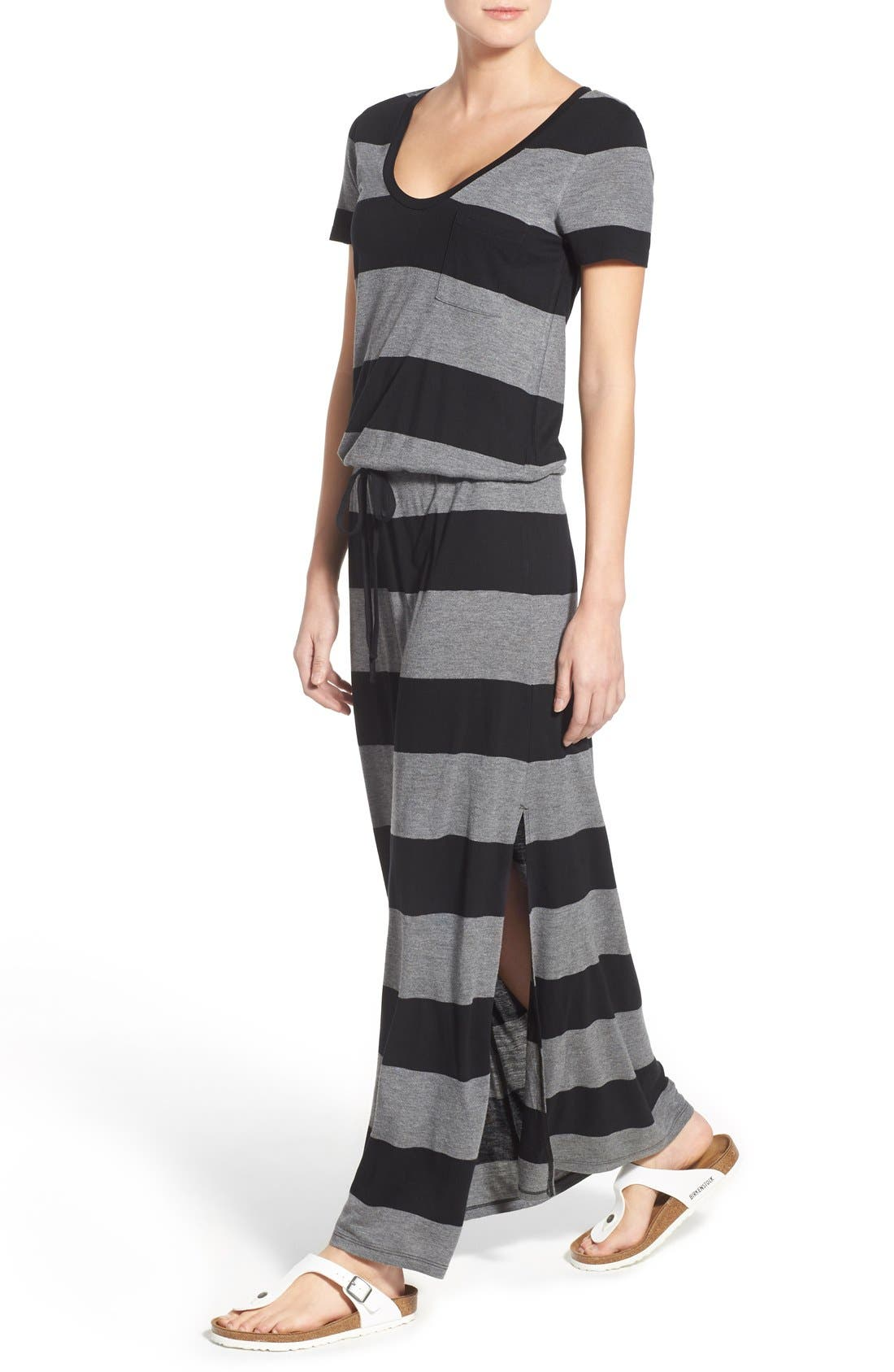 Drawstring V-Neck Jersey Maxi Dress,                             Alternate thumbnail 34, color,