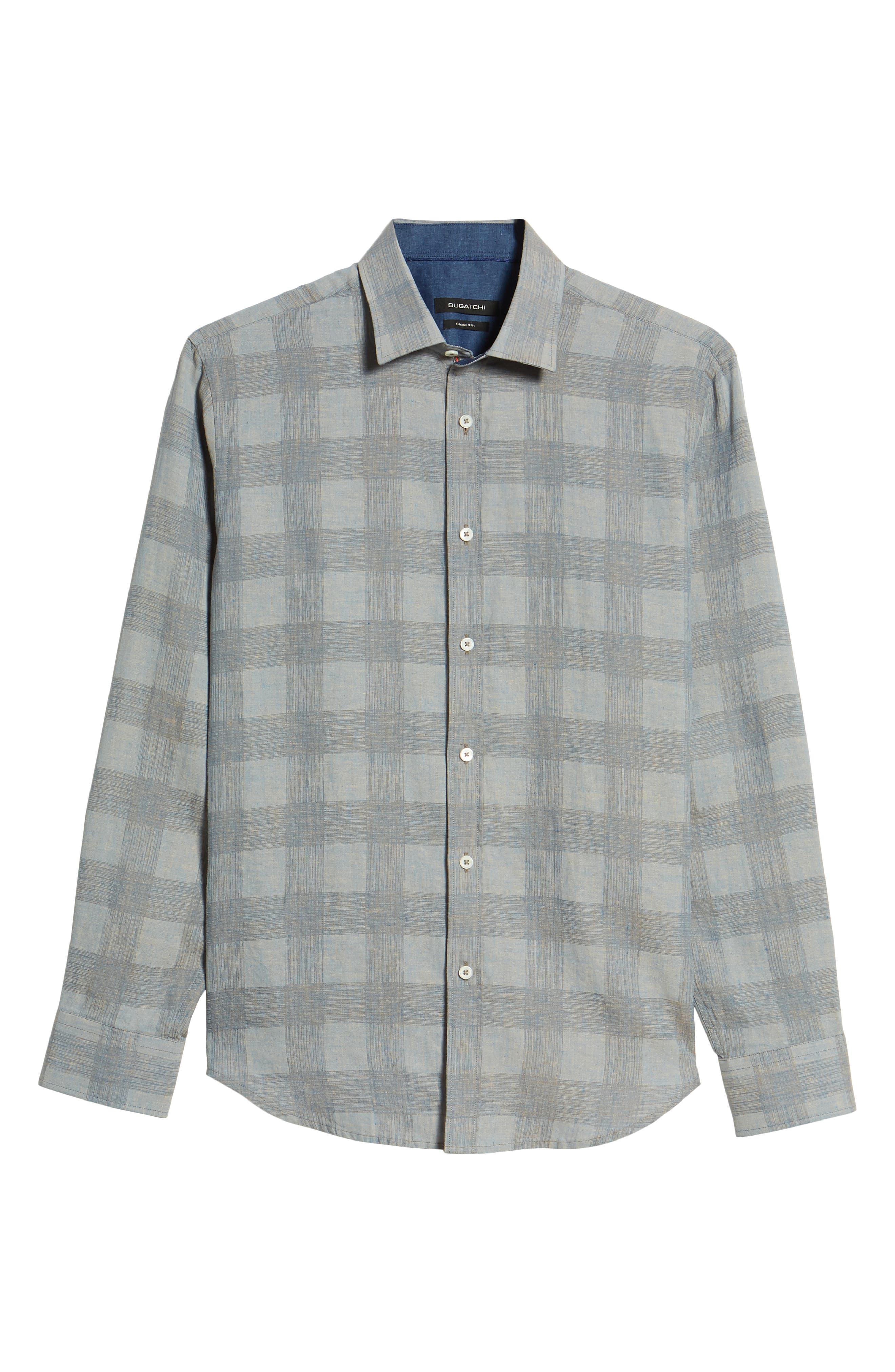 Shaped Fit Check Linen Blend Sport Shirt,                             Alternate thumbnail 6, color,                             STONE