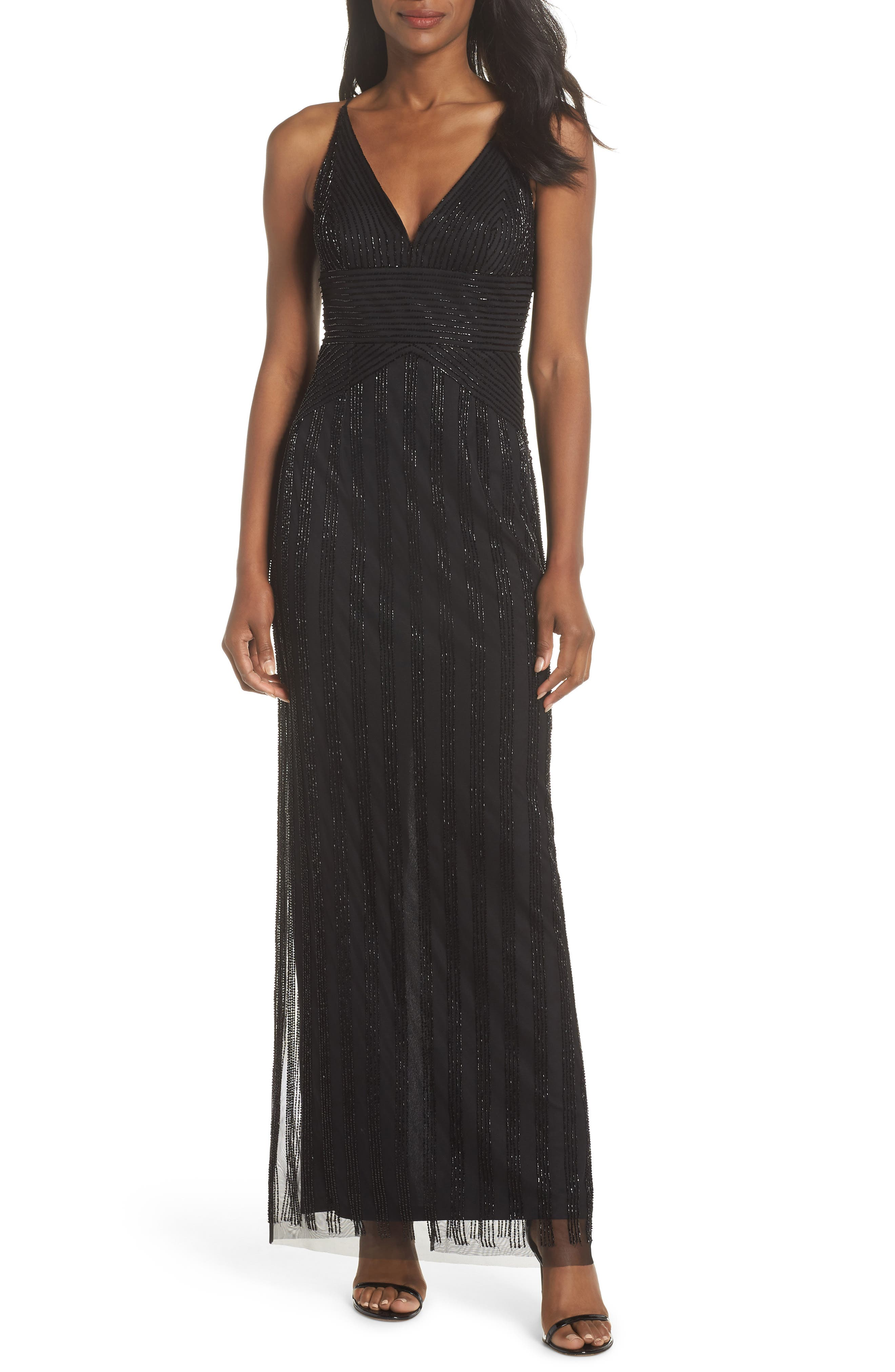 V-Neck Beaded Stripe Gown,                         Main,                         color, BLACK