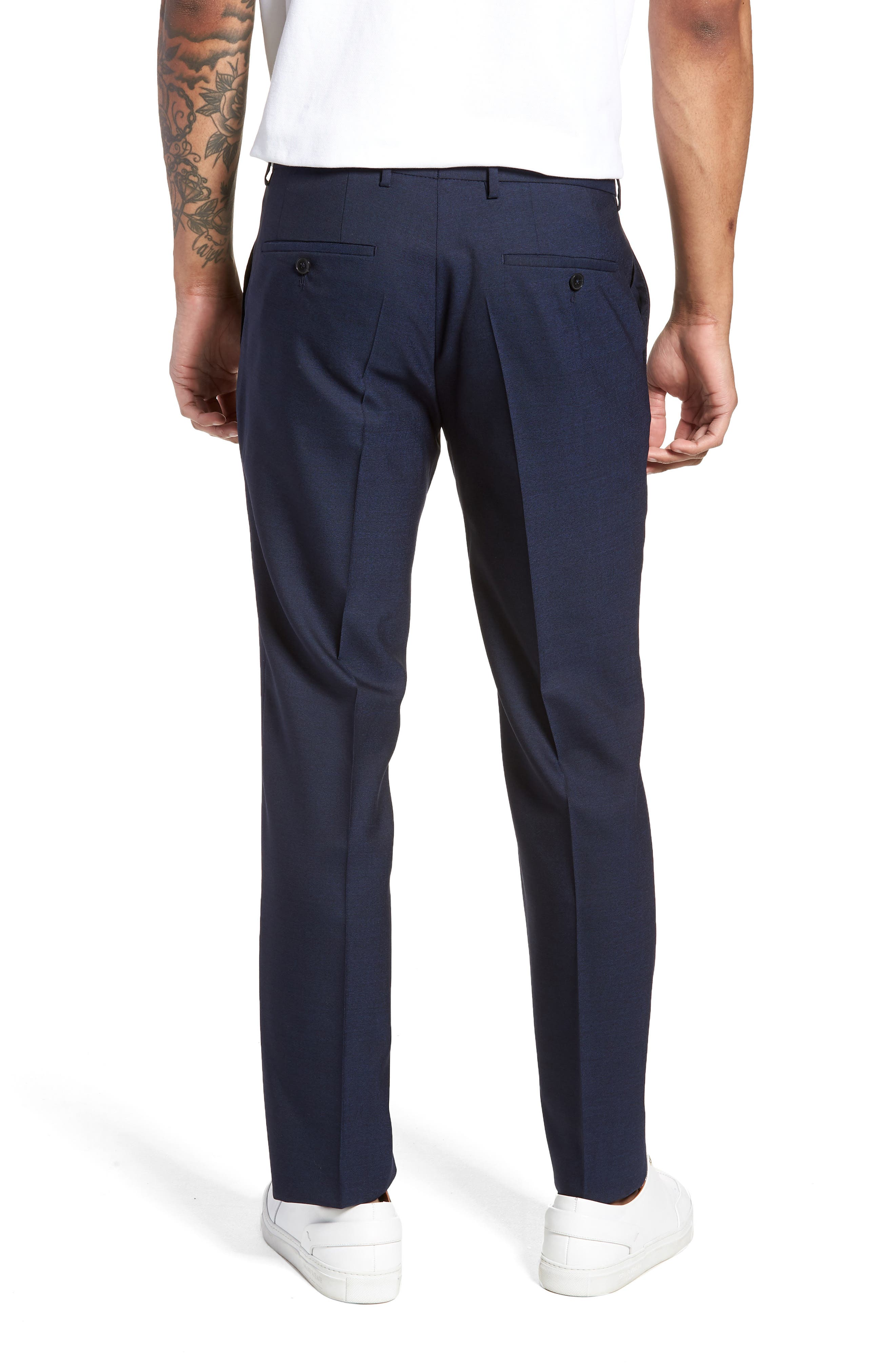 Nordstrom x BOSS Ben Flat Front Solid Wool Trousers,                             Alternate thumbnail 2, color,                             410