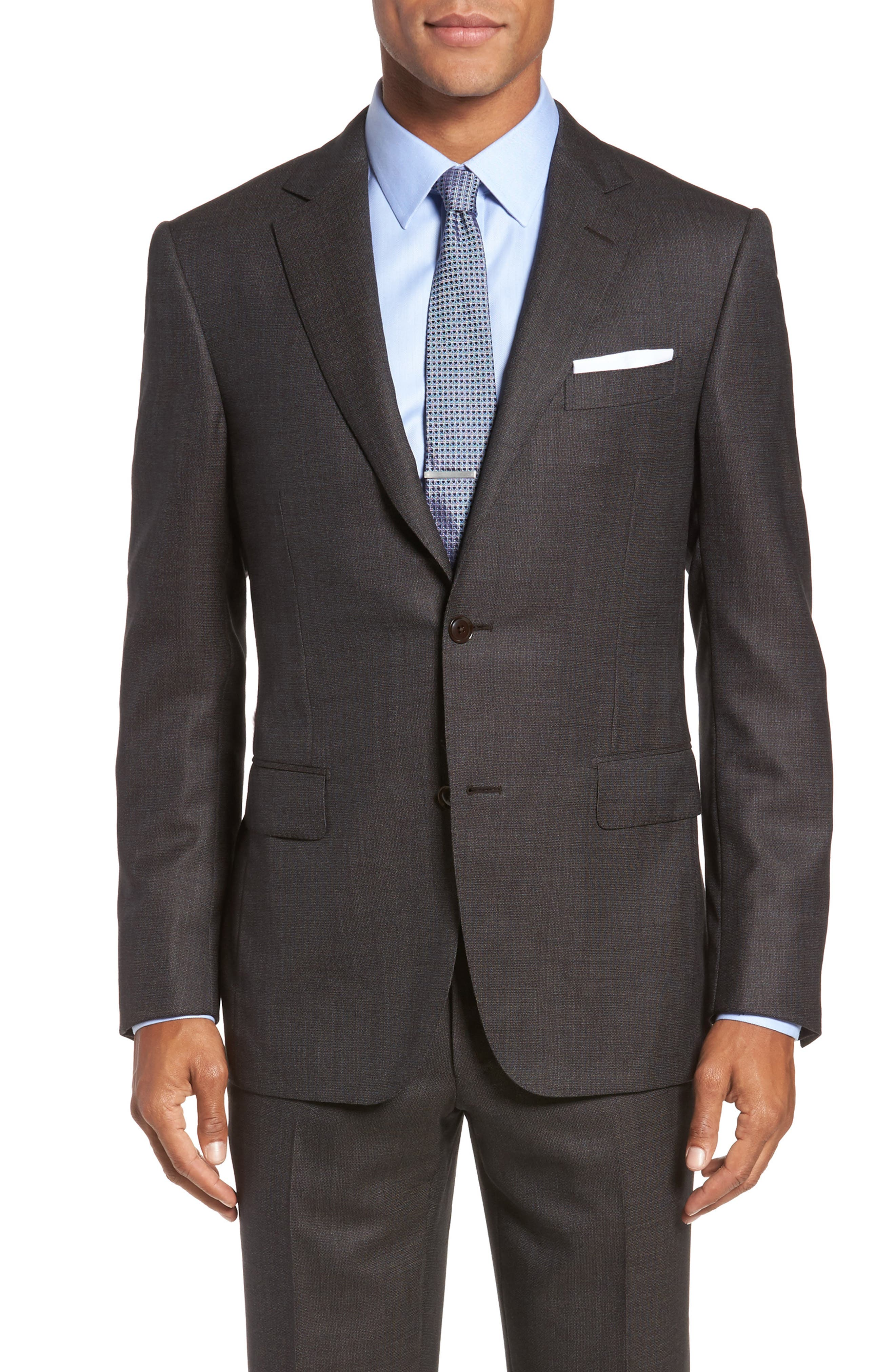Classic Fit Micro Weave Wool Suit,                             Alternate thumbnail 5, color,                             200