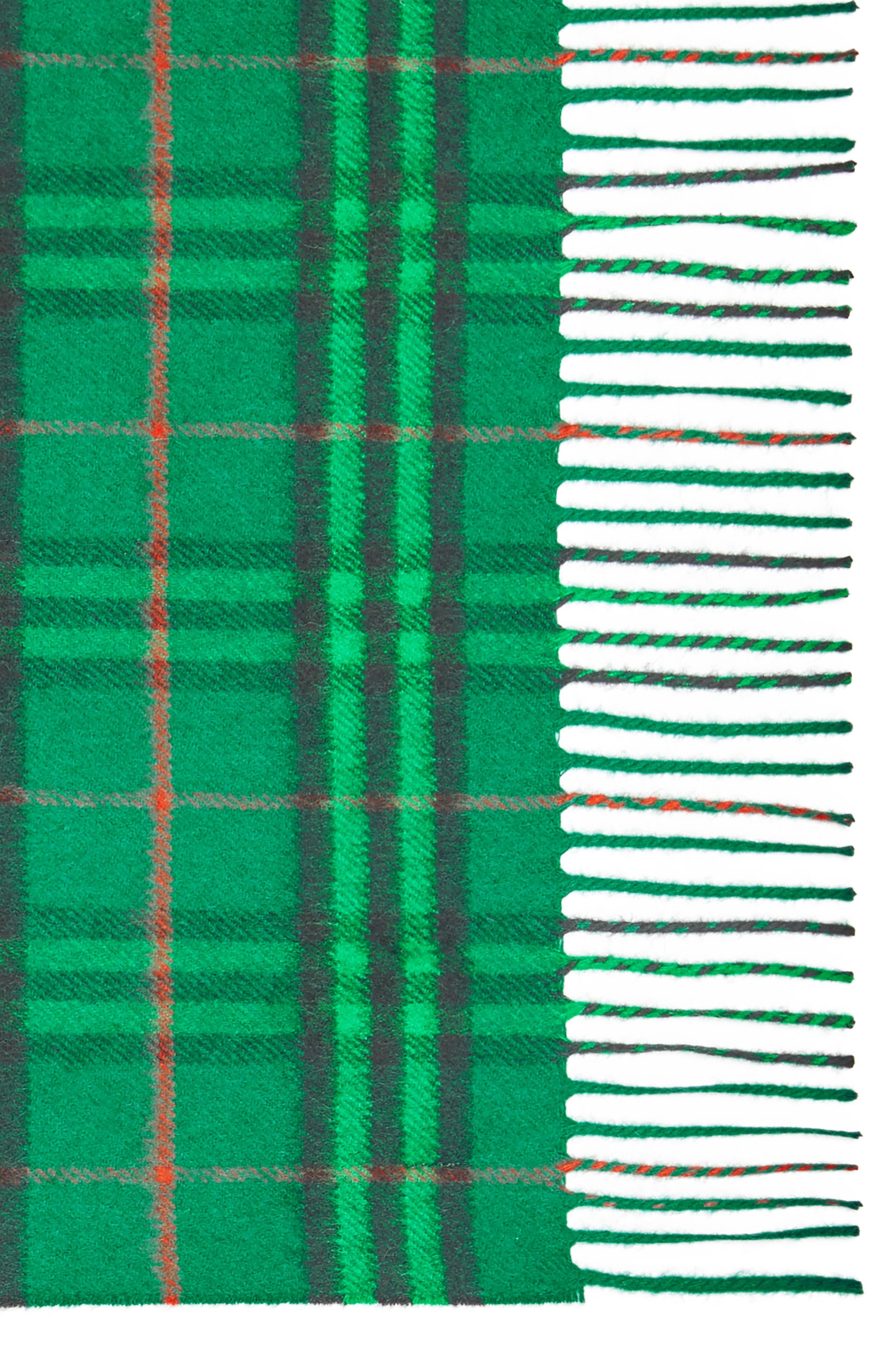 BURBERRY,                             Vintage Check Cashmere Scarf,                             Alternate thumbnail 4, color,                             VIRIDIAN GREEN