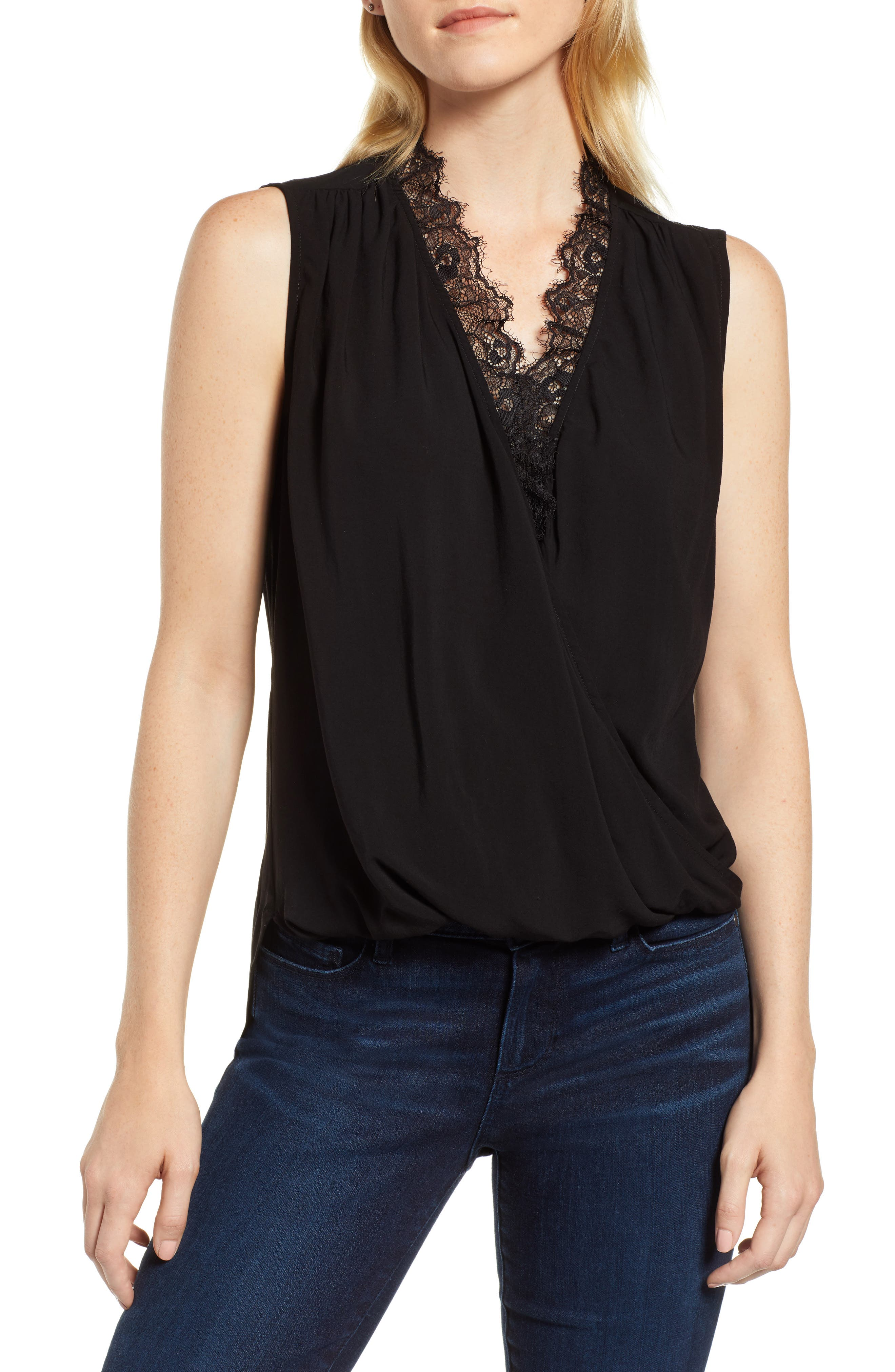Lace Trim Sleeveless Blouse,                             Main thumbnail 1, color,                             001