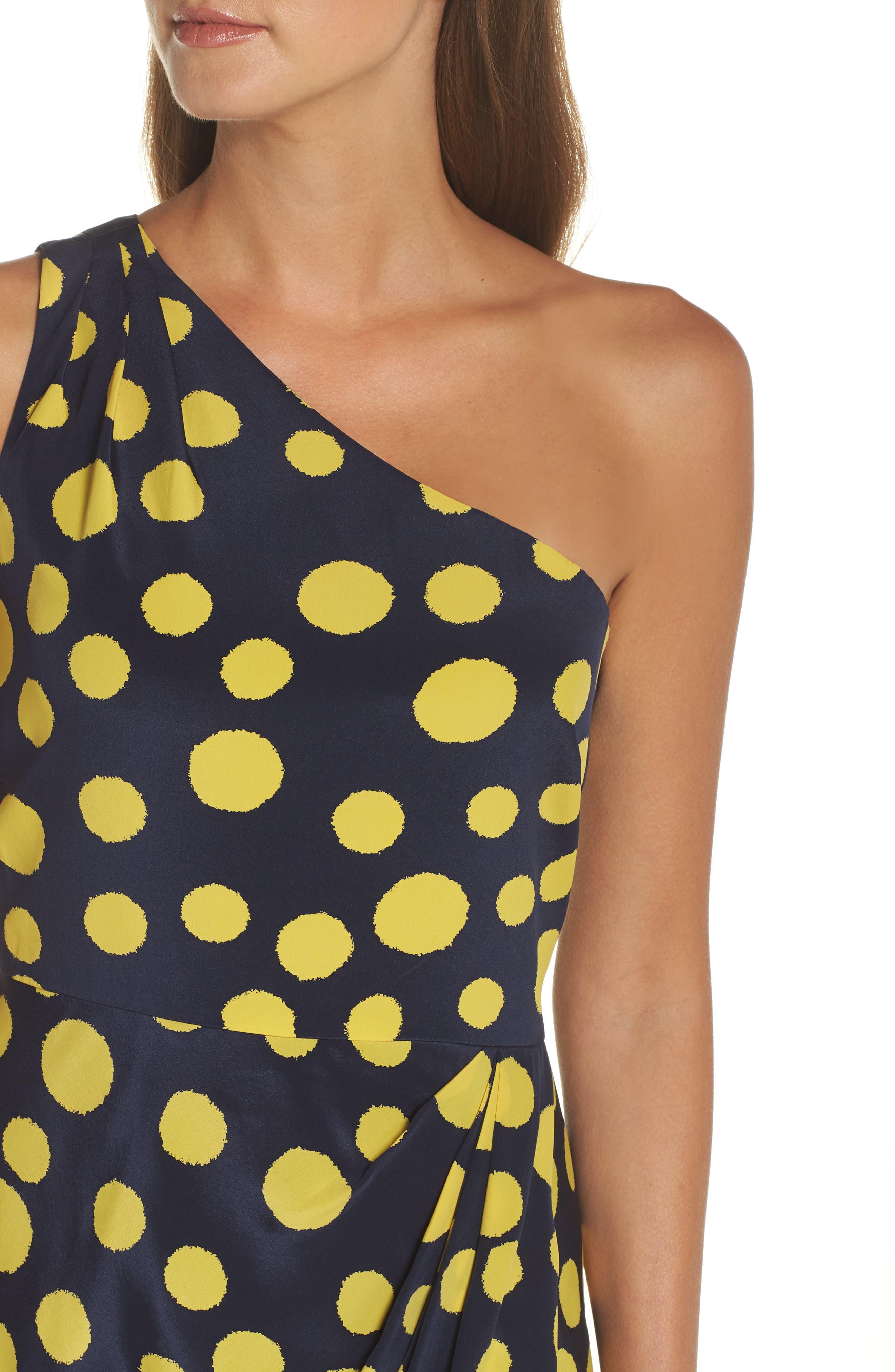 J.CREW,                             Polka Dot One-Shoulder Silk Dress,                             Alternate thumbnail 4, color,                             401