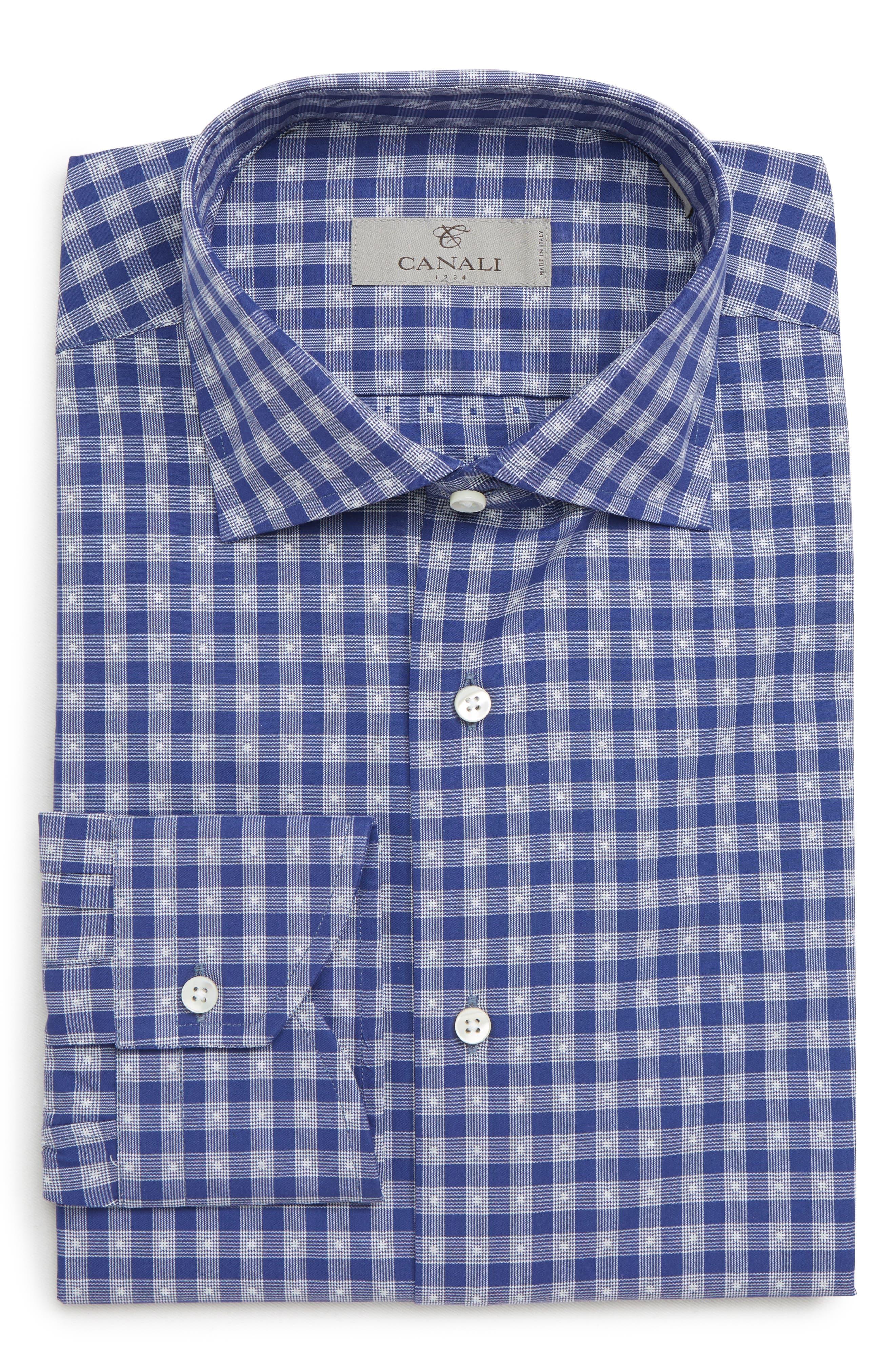 Trim Fit Check Dress Shirt,                             Main thumbnail 1, color,                             DARK BLUE