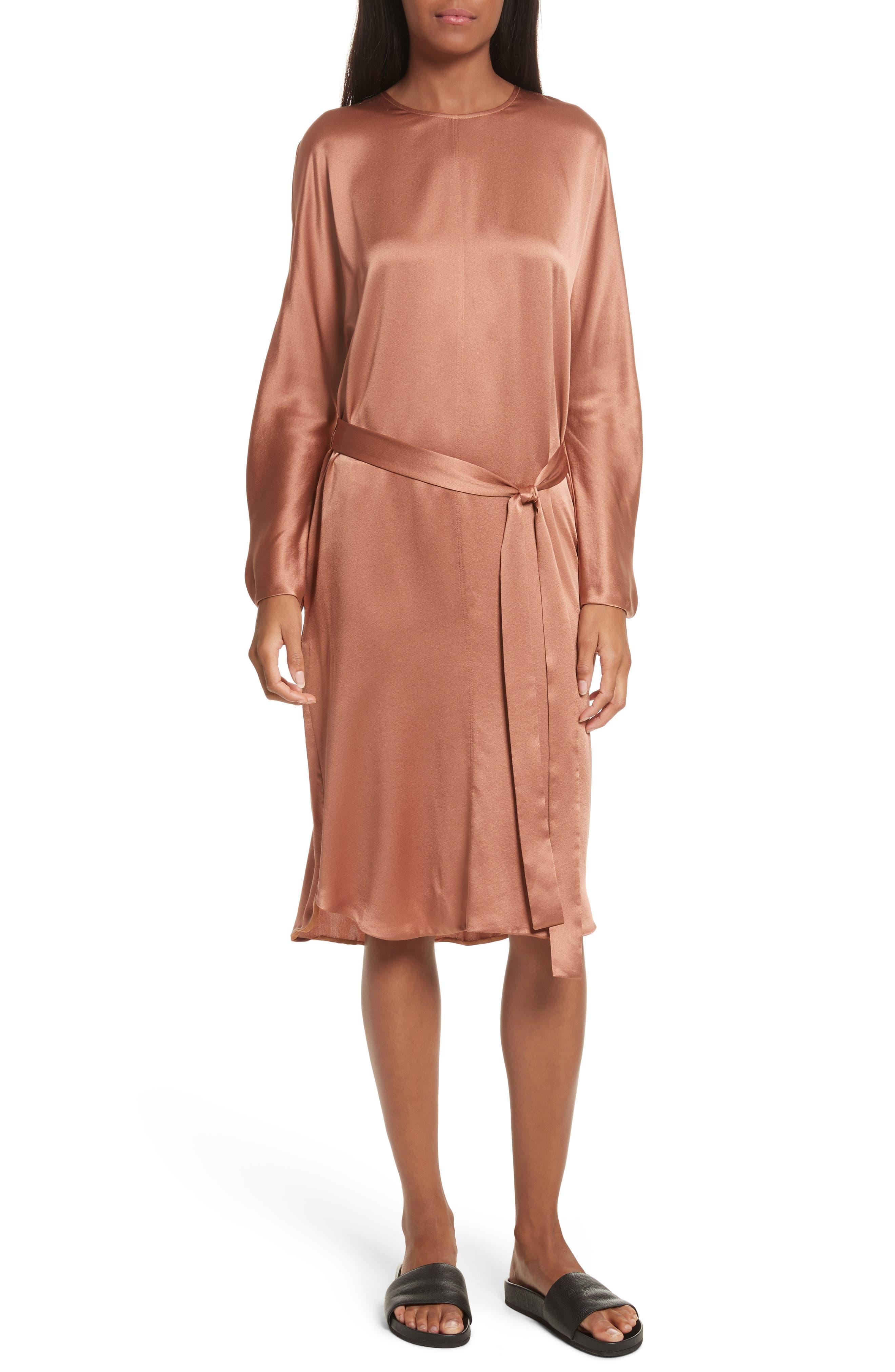 Seam Front Silk Dress,                             Alternate thumbnail 5, color,                             223