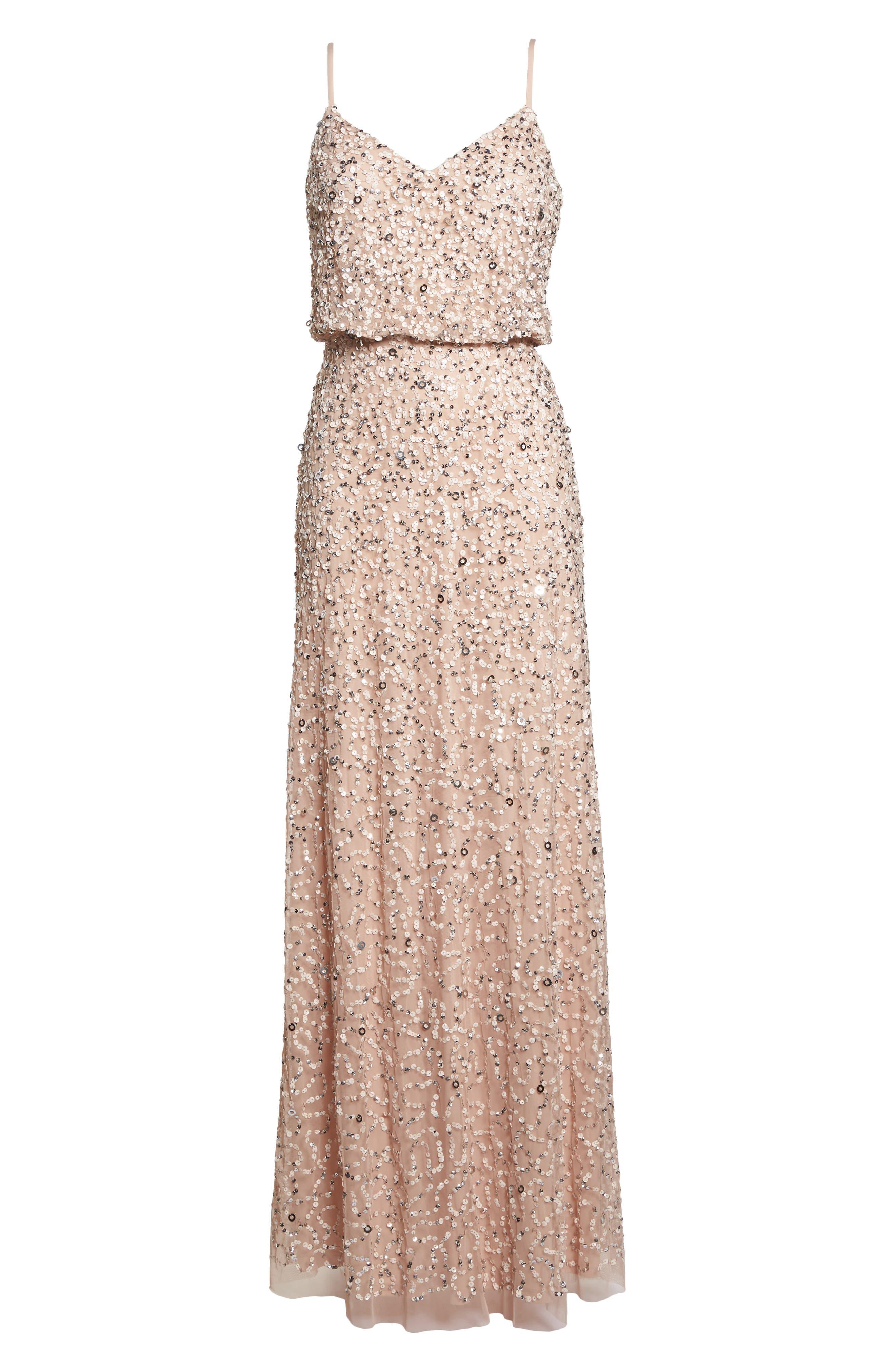 Sequin Blouson Gown,                             Alternate thumbnail 6, color,                             BLUSH