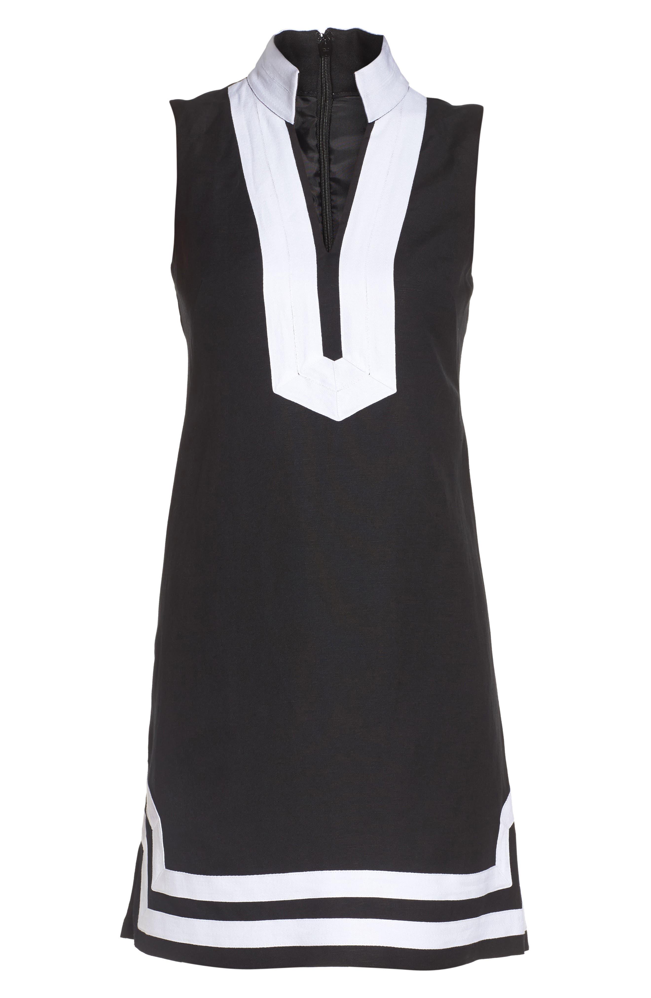 Mandarin Collar Linen Blend Sheath Dress,                             Alternate thumbnail 6, color,                             006