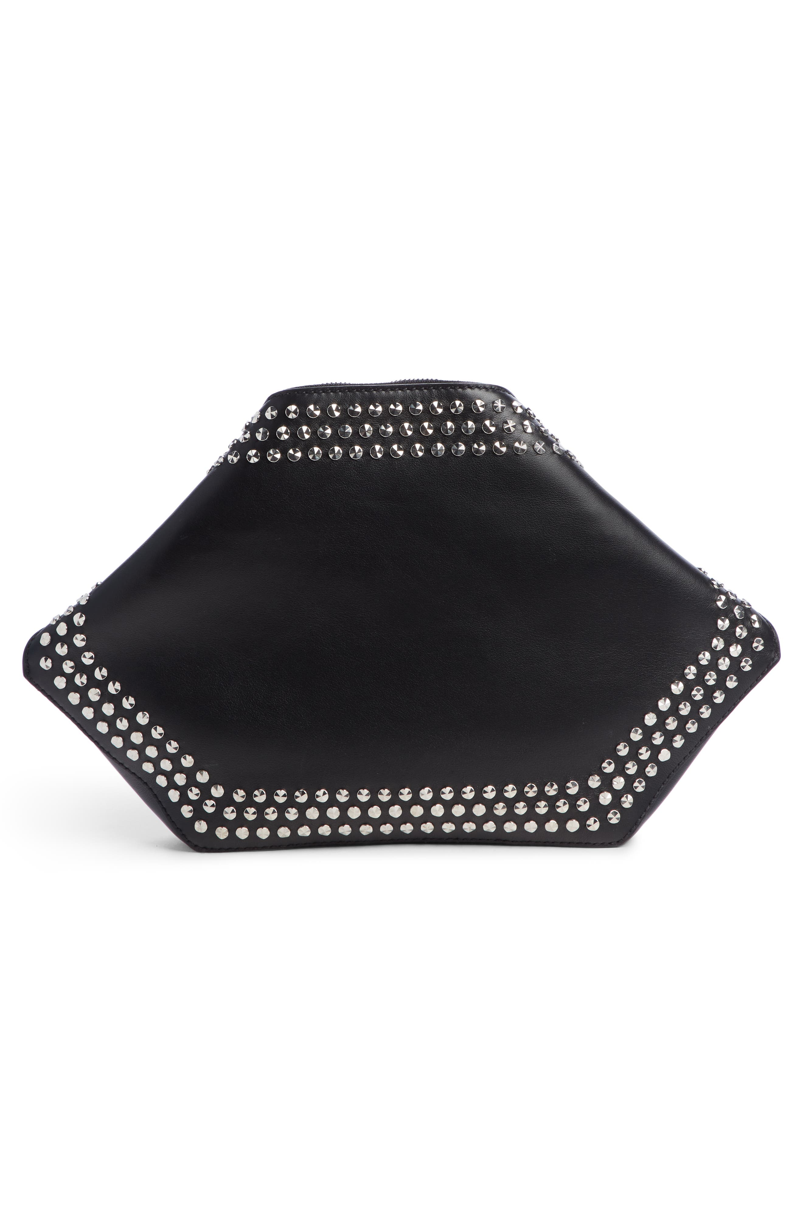 Studded Leather Butterfly Pouch,                             Alternate thumbnail 4, color,                             BLACK