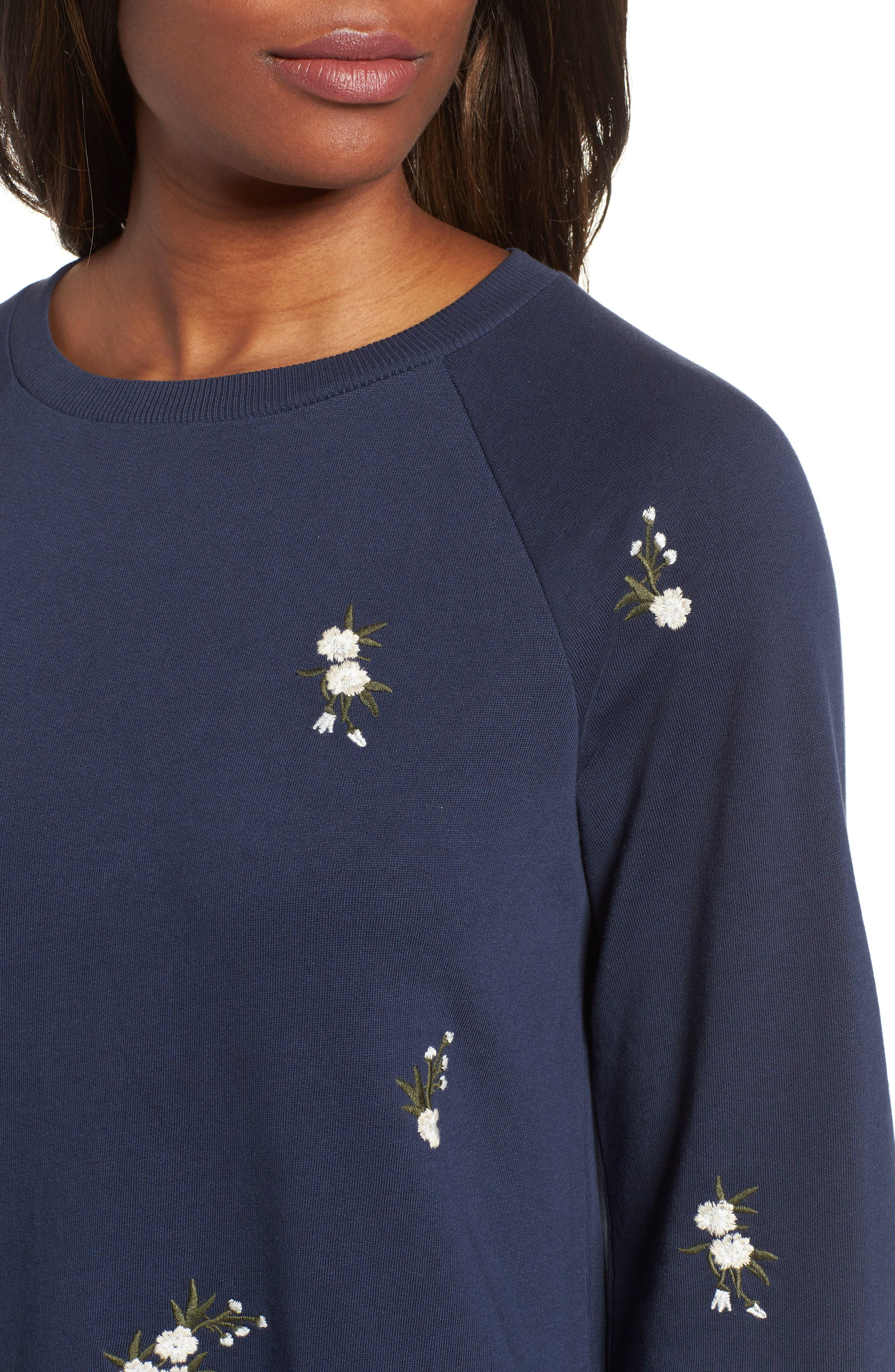 Embroidered Sweatshirt Dress,                             Alternate thumbnail 4, color,                             NAVY INDIGO GAYLE EMB