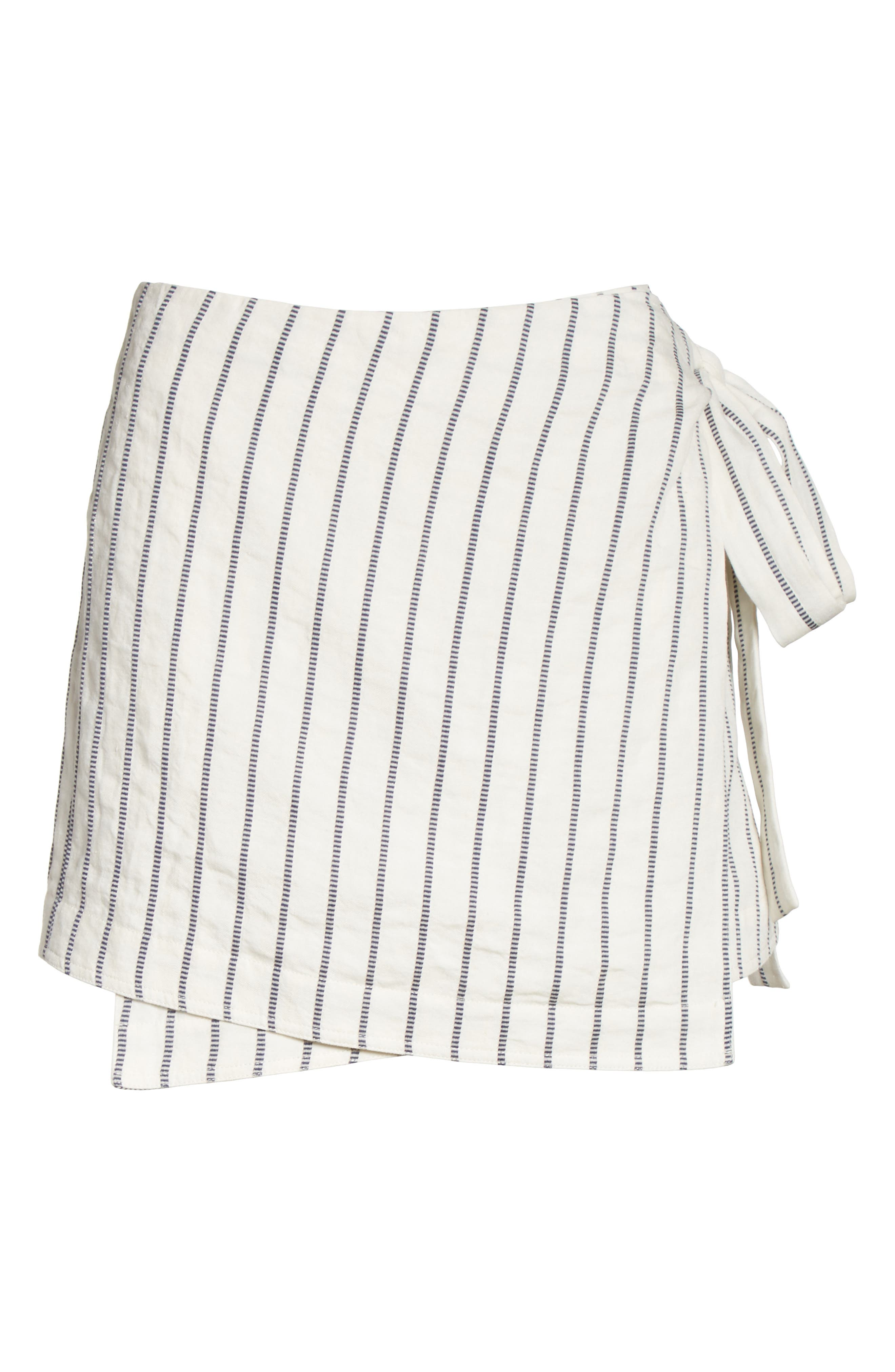 Tie Wrap Stripe Miniskirt,                             Alternate thumbnail 6, color,                             497