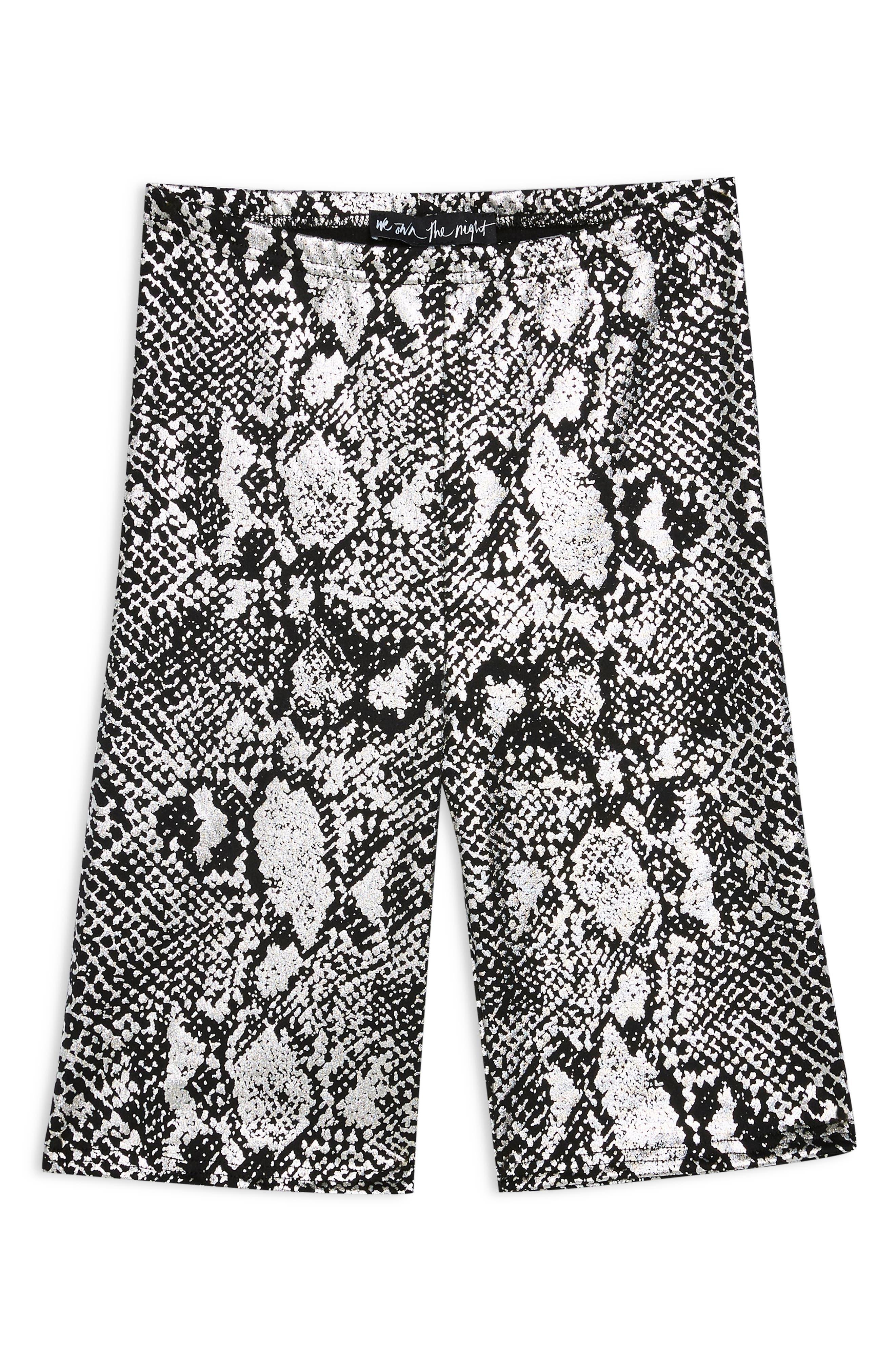 Foil Snake Print Cycling Shorts,                             Alternate thumbnail 3, color,                             BLACK MULTI