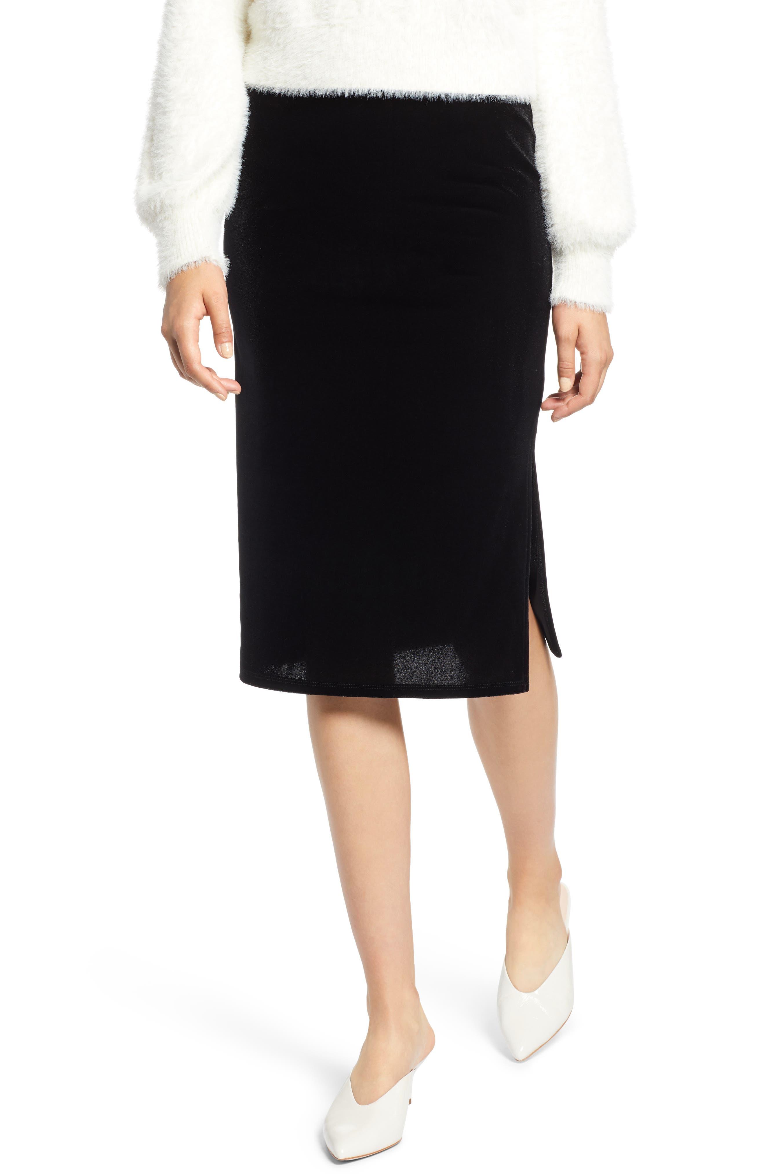 Velvet Pencil Skirt,                             Main thumbnail 1, color,                             001