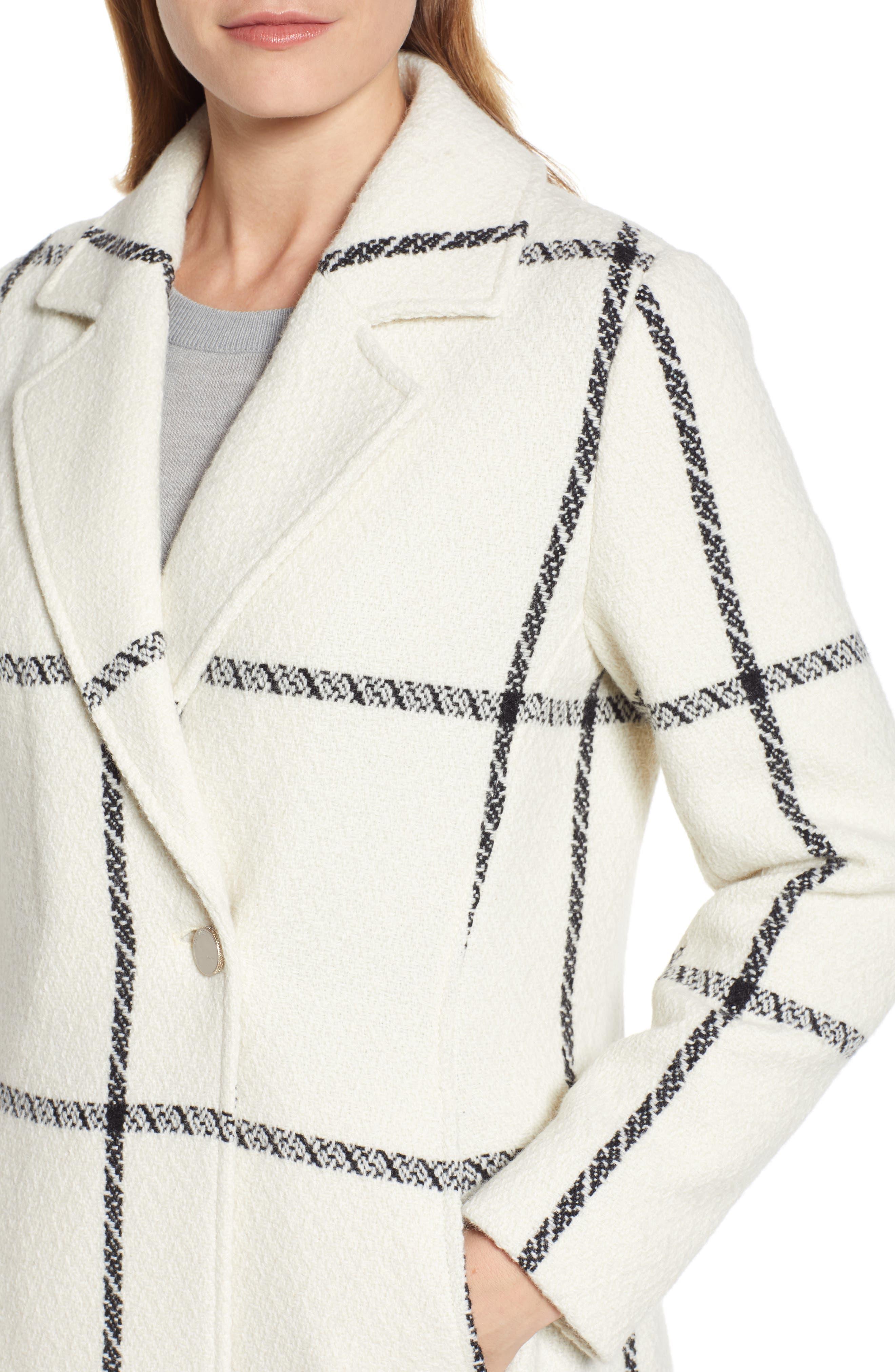 TED BAKER LONDON,                             Soniq Check Wool Blend Long Coat,                             Alternate thumbnail 5, color,                             92-IVORY