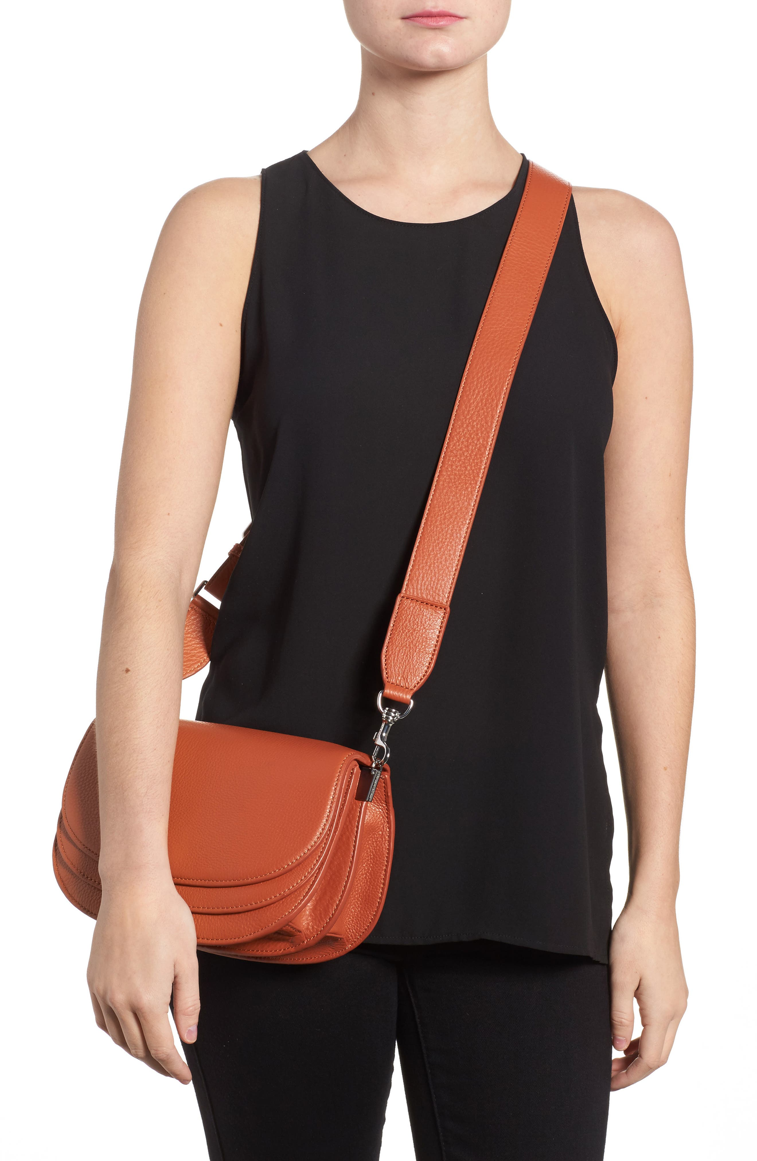 Landon Leather Crossbody Saddle Bag,                             Alternate thumbnail 8, color,