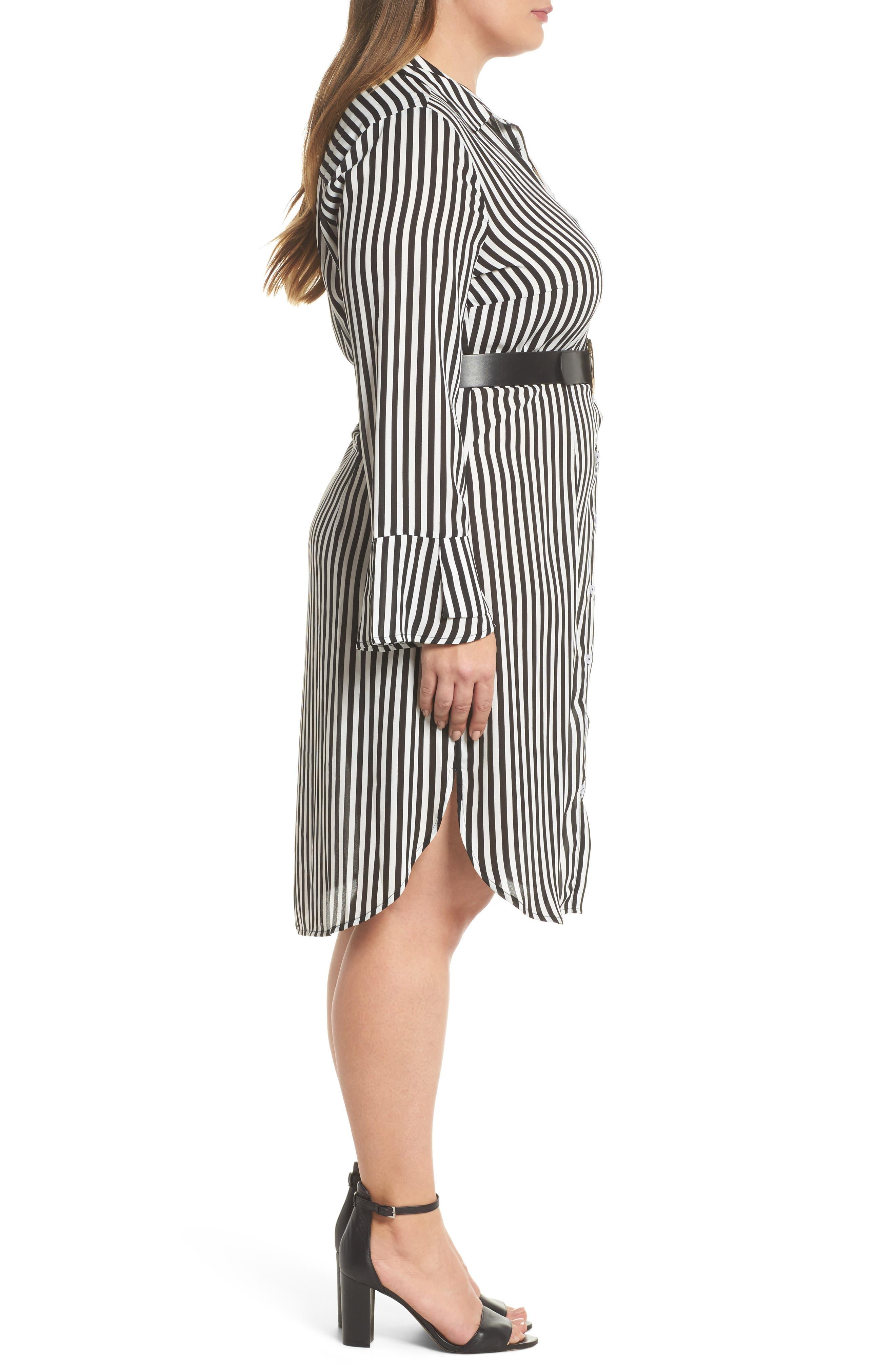 Belted Stripe Shirtdress,                             Alternate thumbnail 3, color,                             161