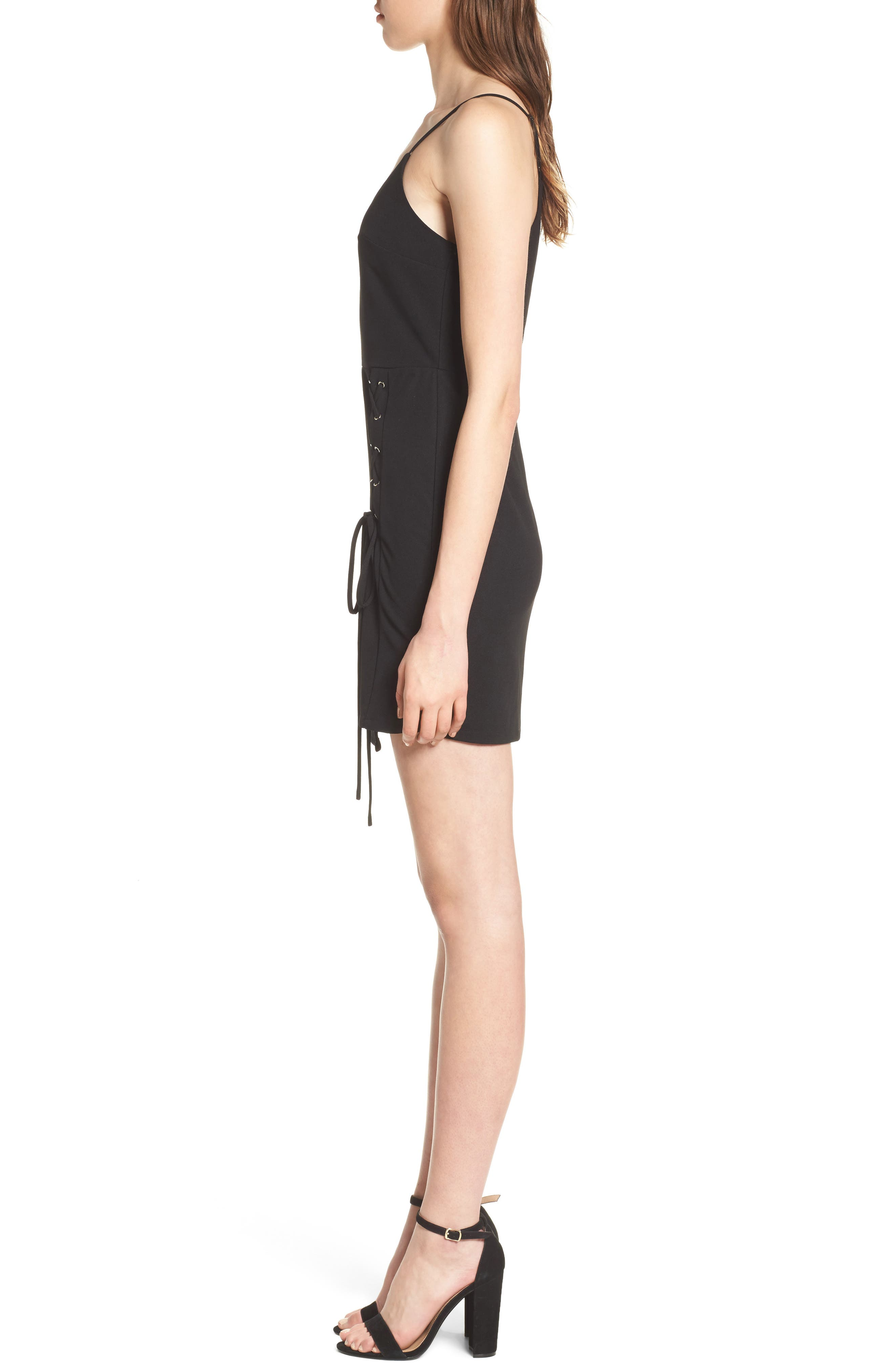 Lace-Up Body-Con Dress,                             Alternate thumbnail 3, color,                             001