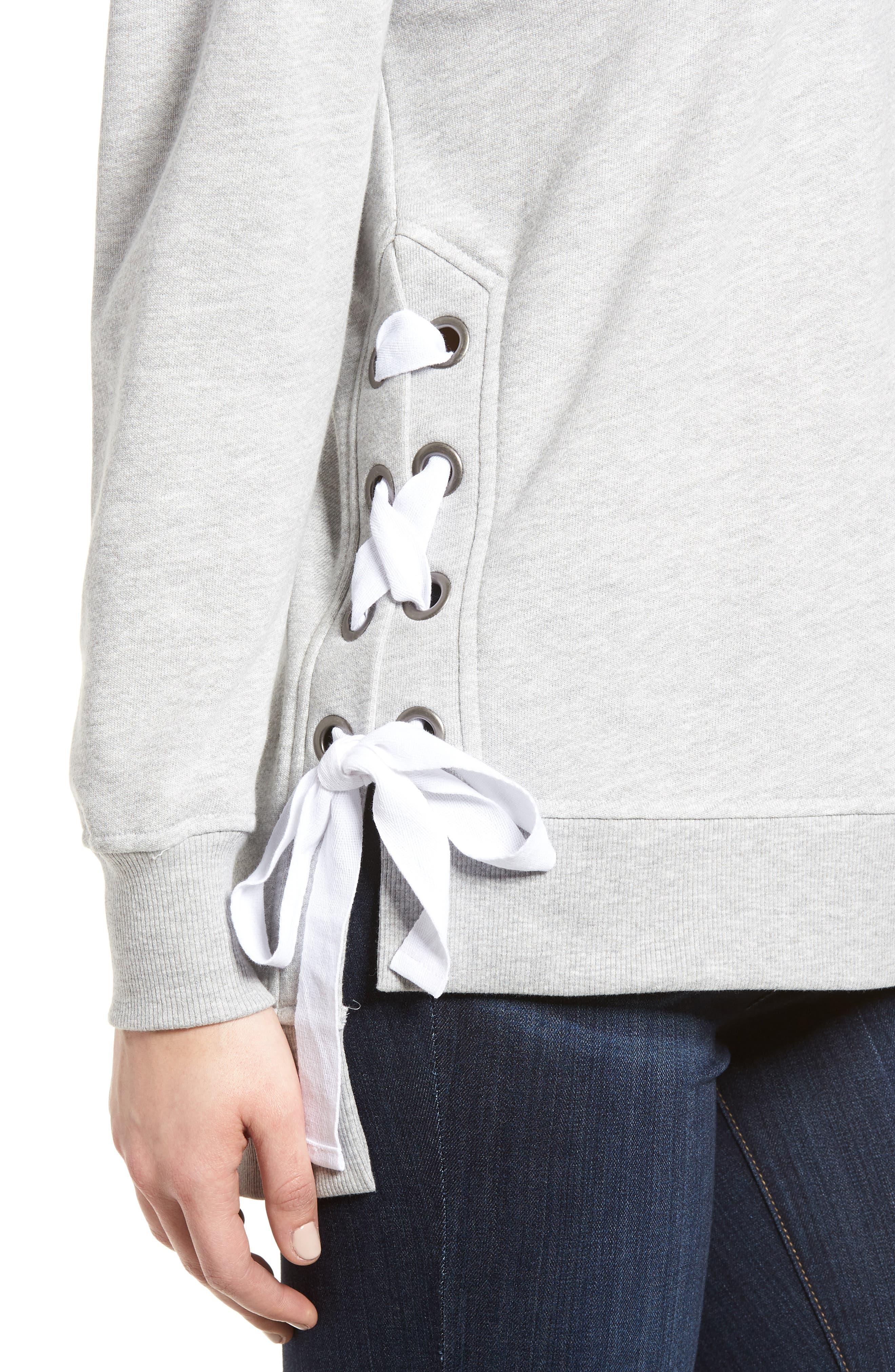 Side Tie High Neck Sweatshirt,                             Alternate thumbnail 4, color,                             055