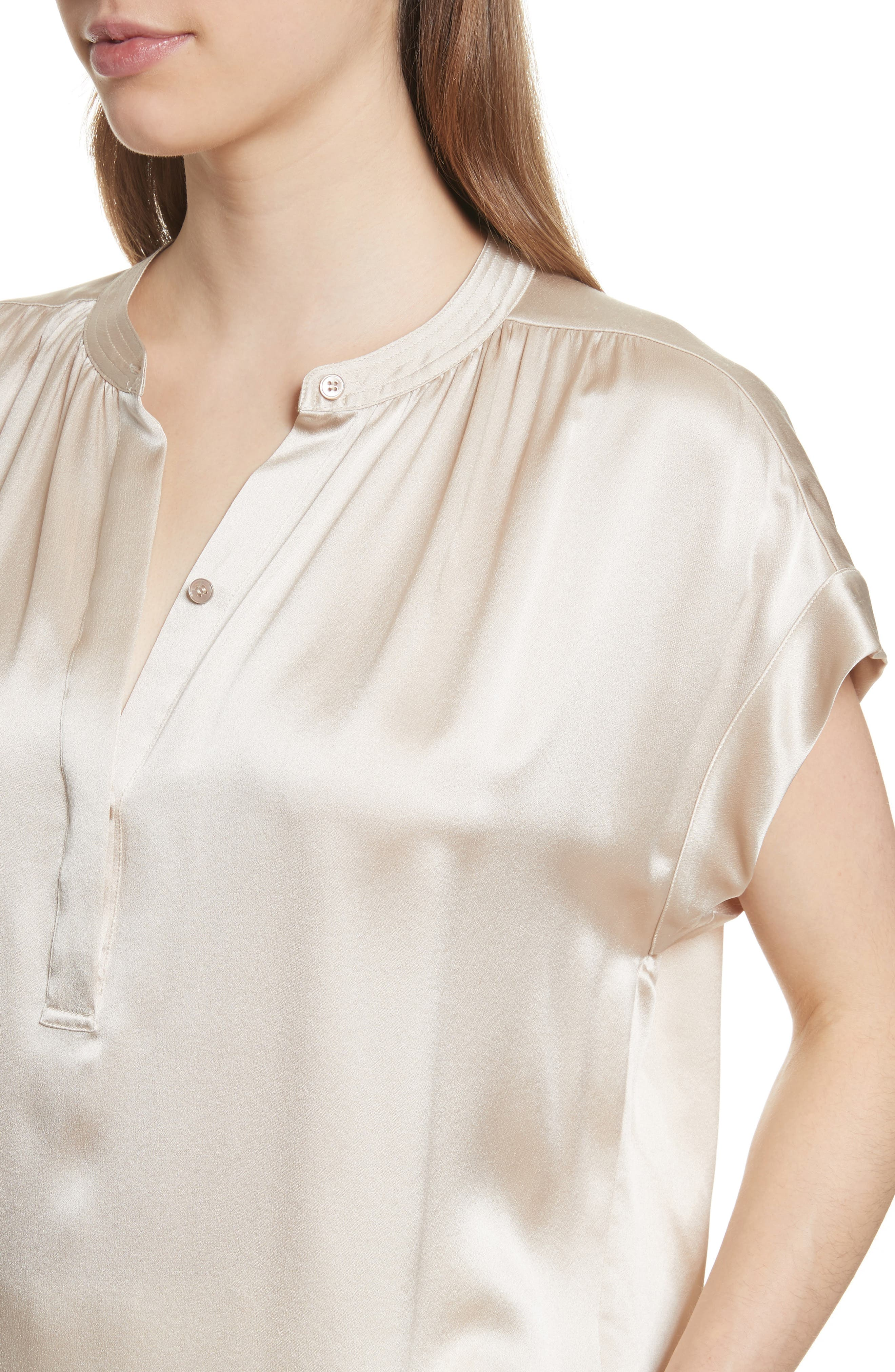 Shirred Neck Silk Top,                             Alternate thumbnail 16, color,