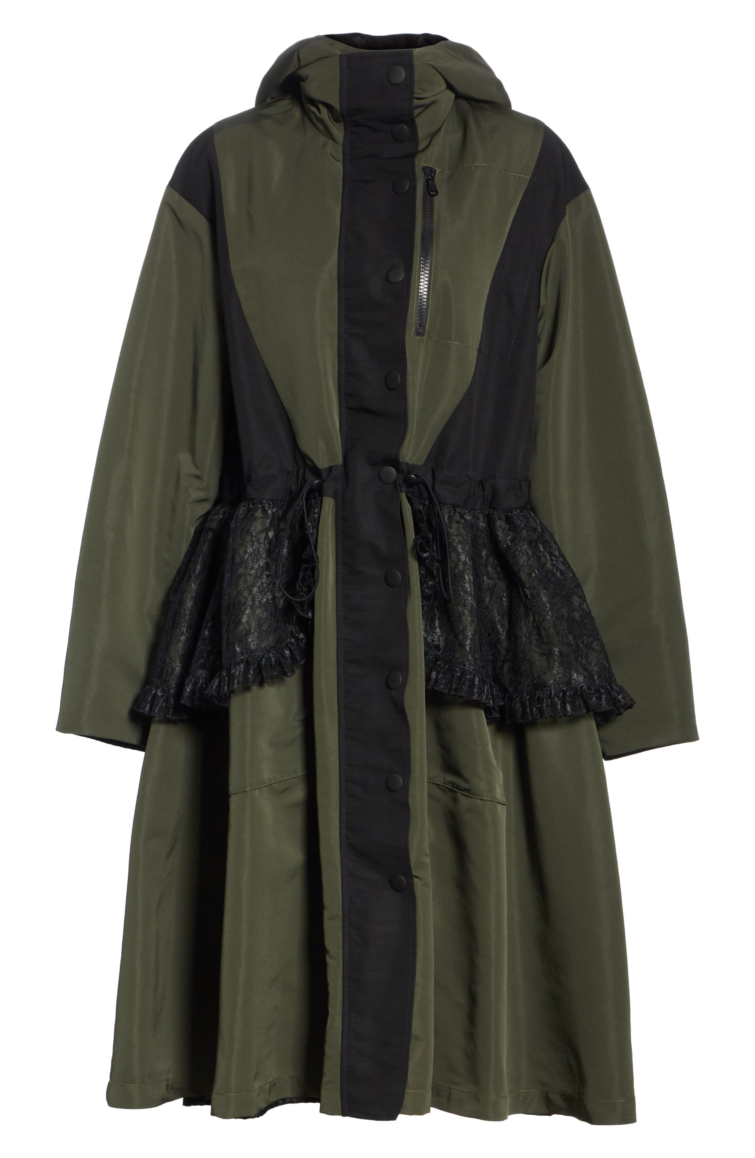 Lace Overlay Hooded Coat,                             Alternate thumbnail 8, color,                             OLIVE BLACK