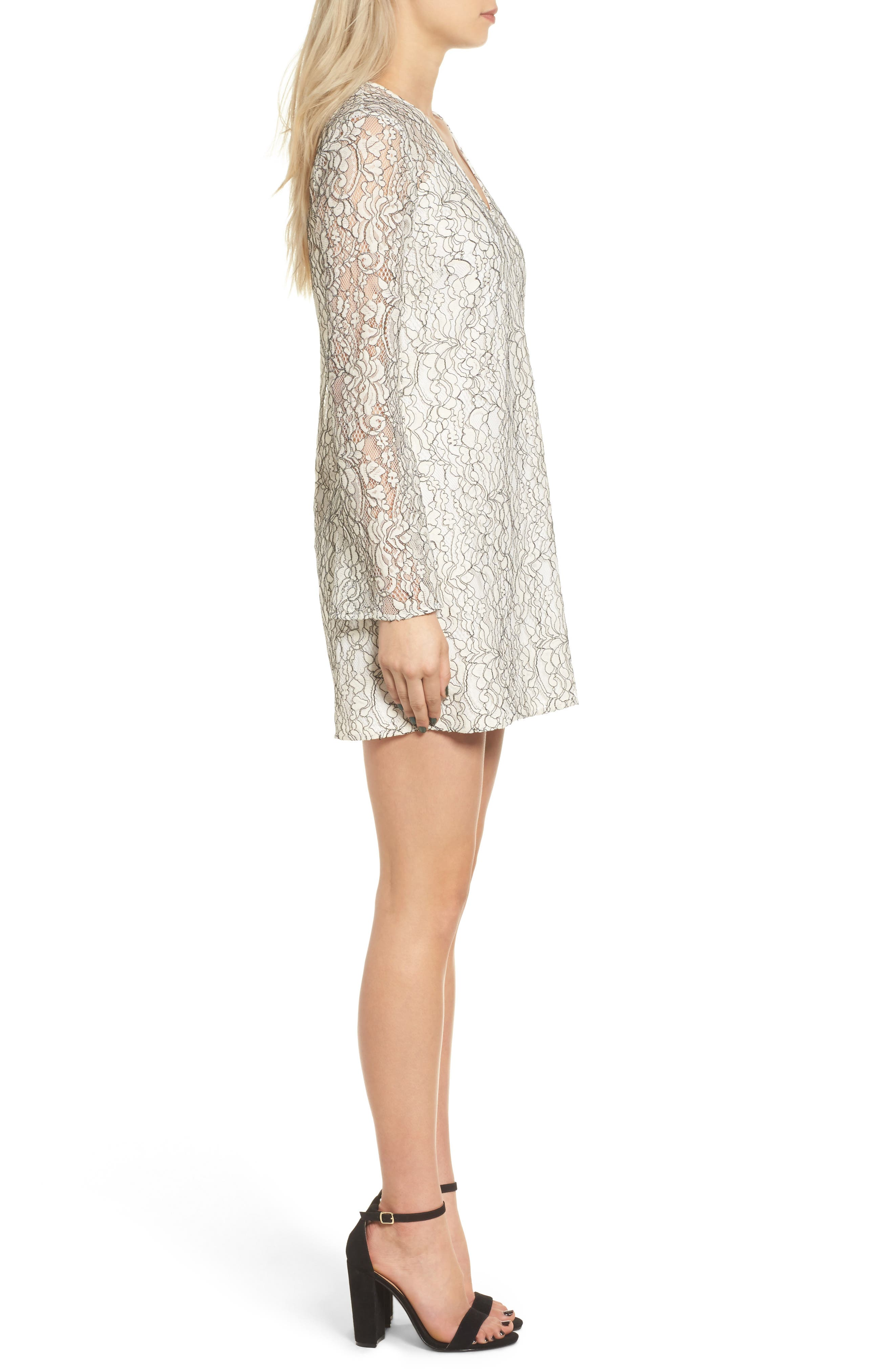 Lace Bell Sleeve Shift Dress,                             Alternate thumbnail 3, color,                             900