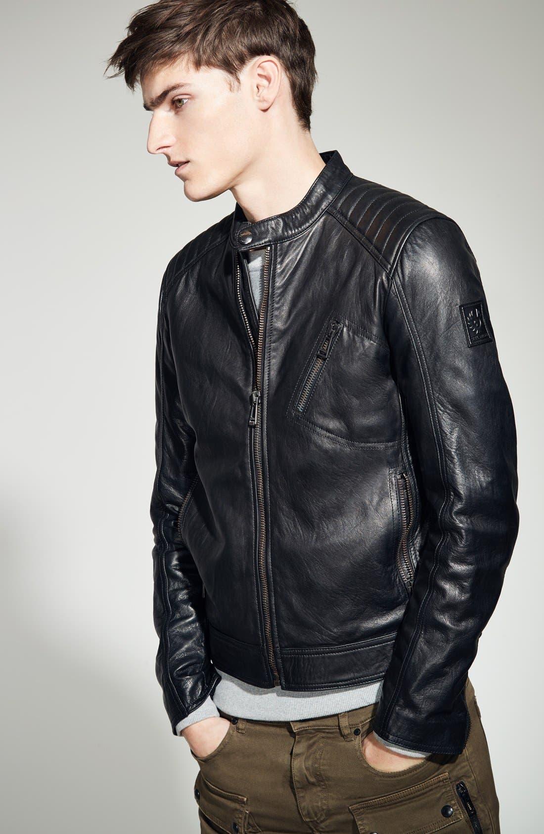 V Racer Leather Jacket,                             Alternate thumbnail 4, color,                             BLACK