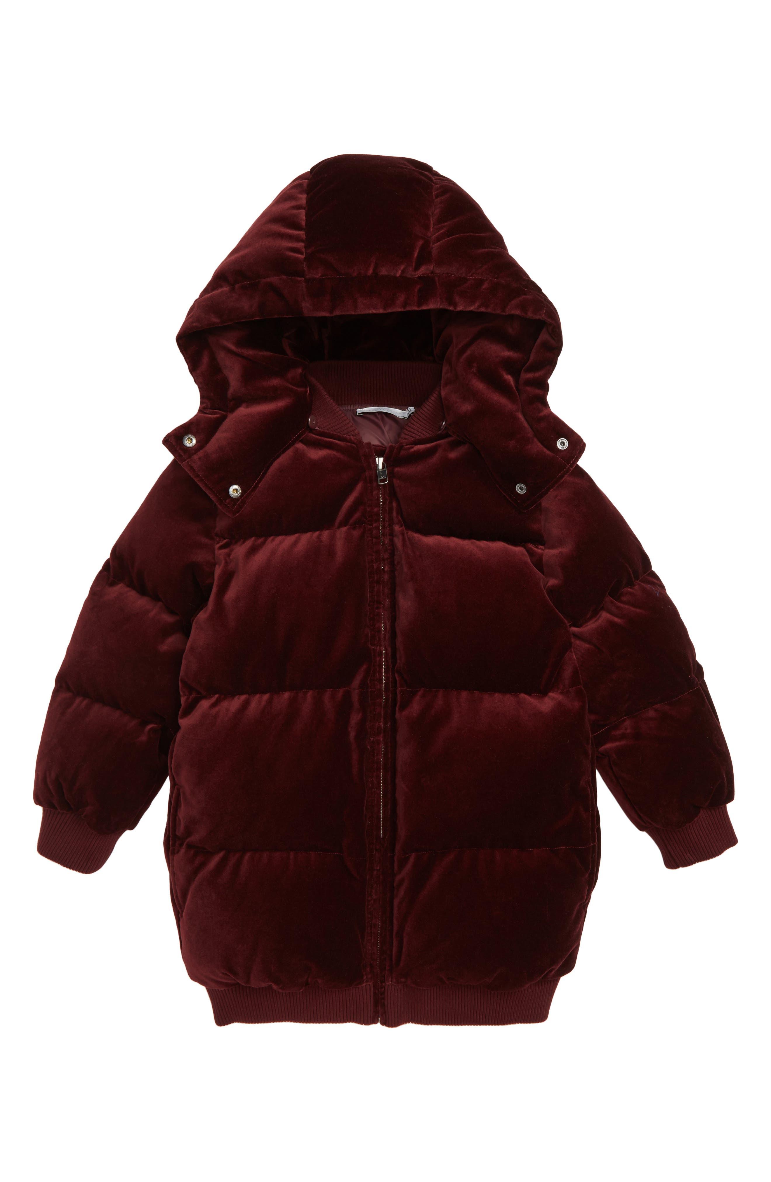 Ruby Velvet Puffer Jacket,                             Main thumbnail 1, color,                             BURGUNDY