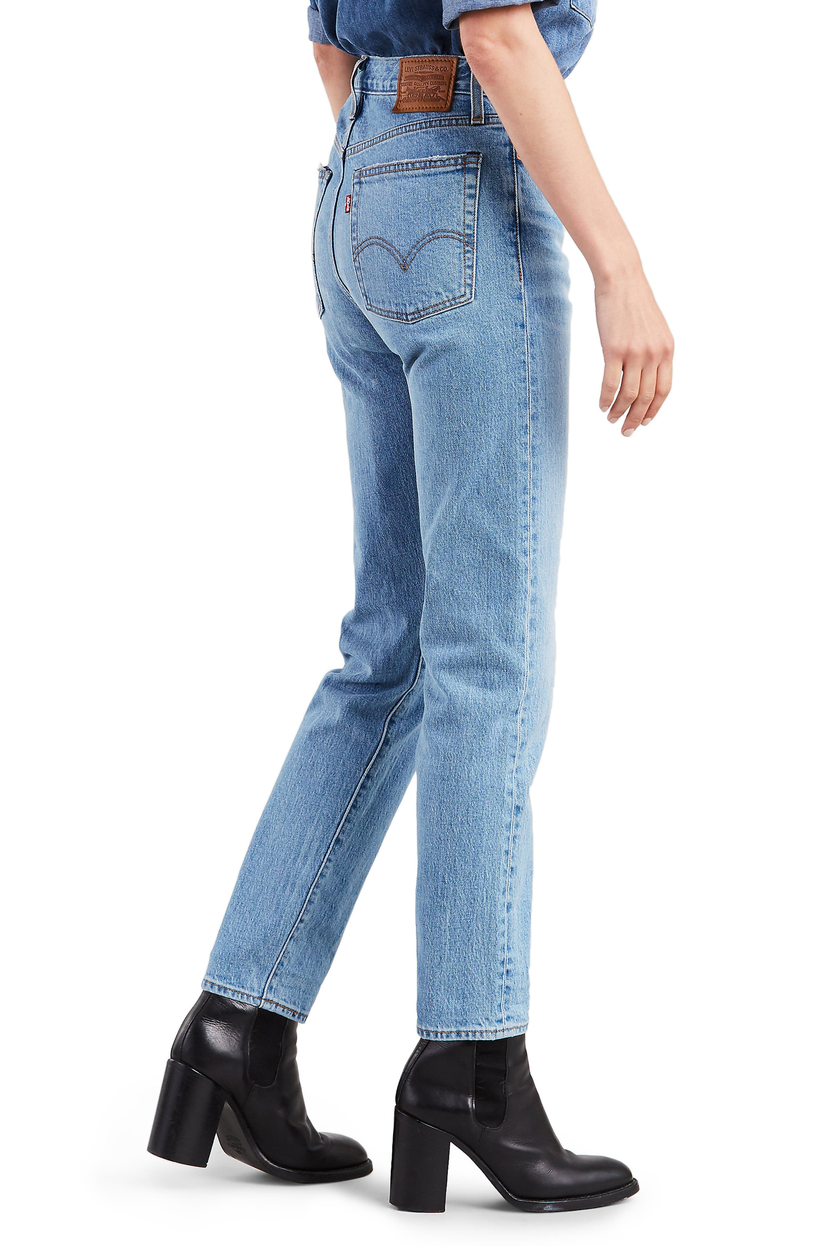 LEVI'S<SUP>®</SUP>,                             Wedgie Icon Fit High Waist Ankle Jeans,                             Alternate thumbnail 3, color,                             BRIGHT SIDE