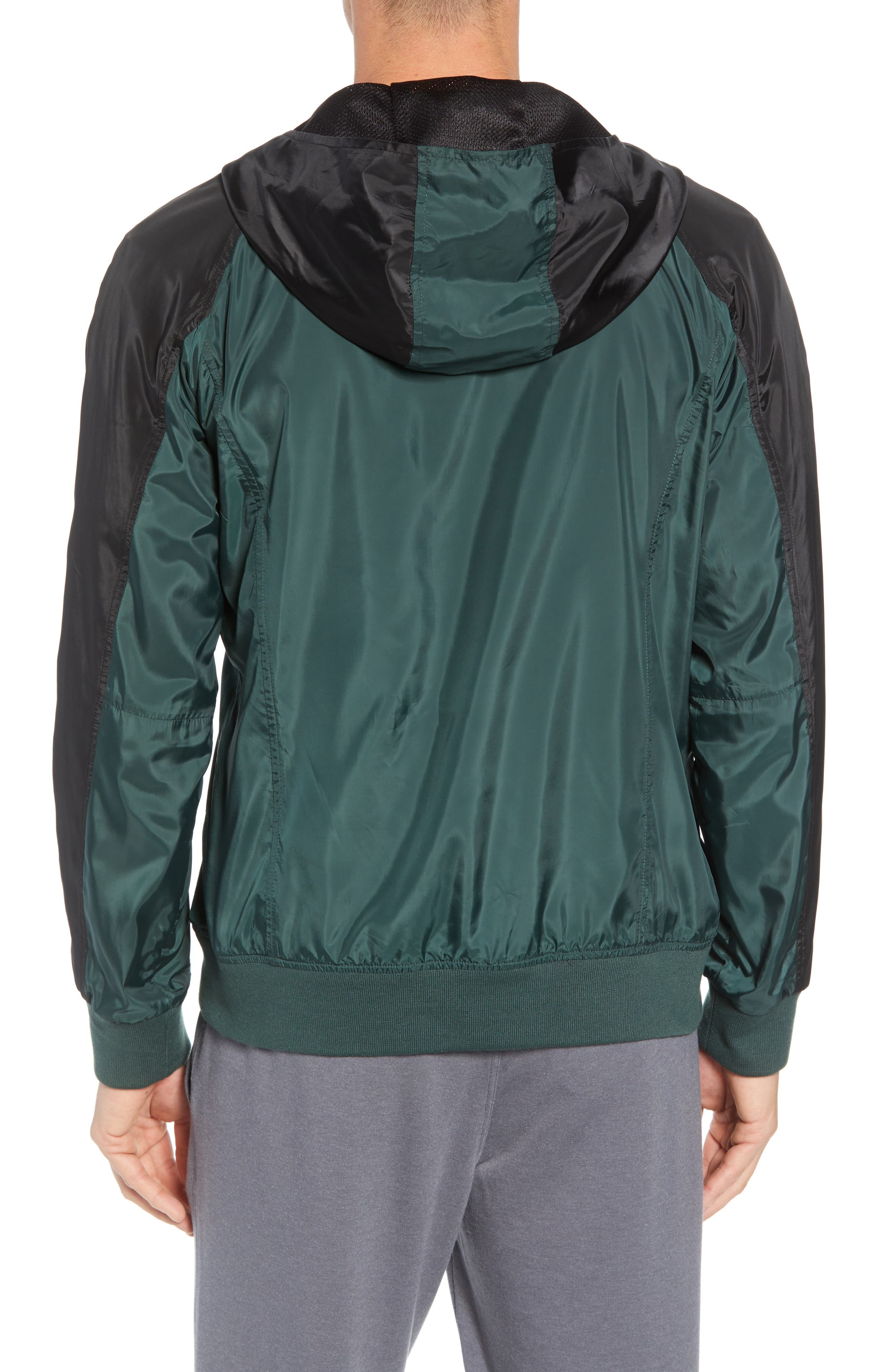 Colorblock Hooded Windbreaker Jacket,                             Alternate thumbnail 2, color,                             BLACK GREEN ODINITE