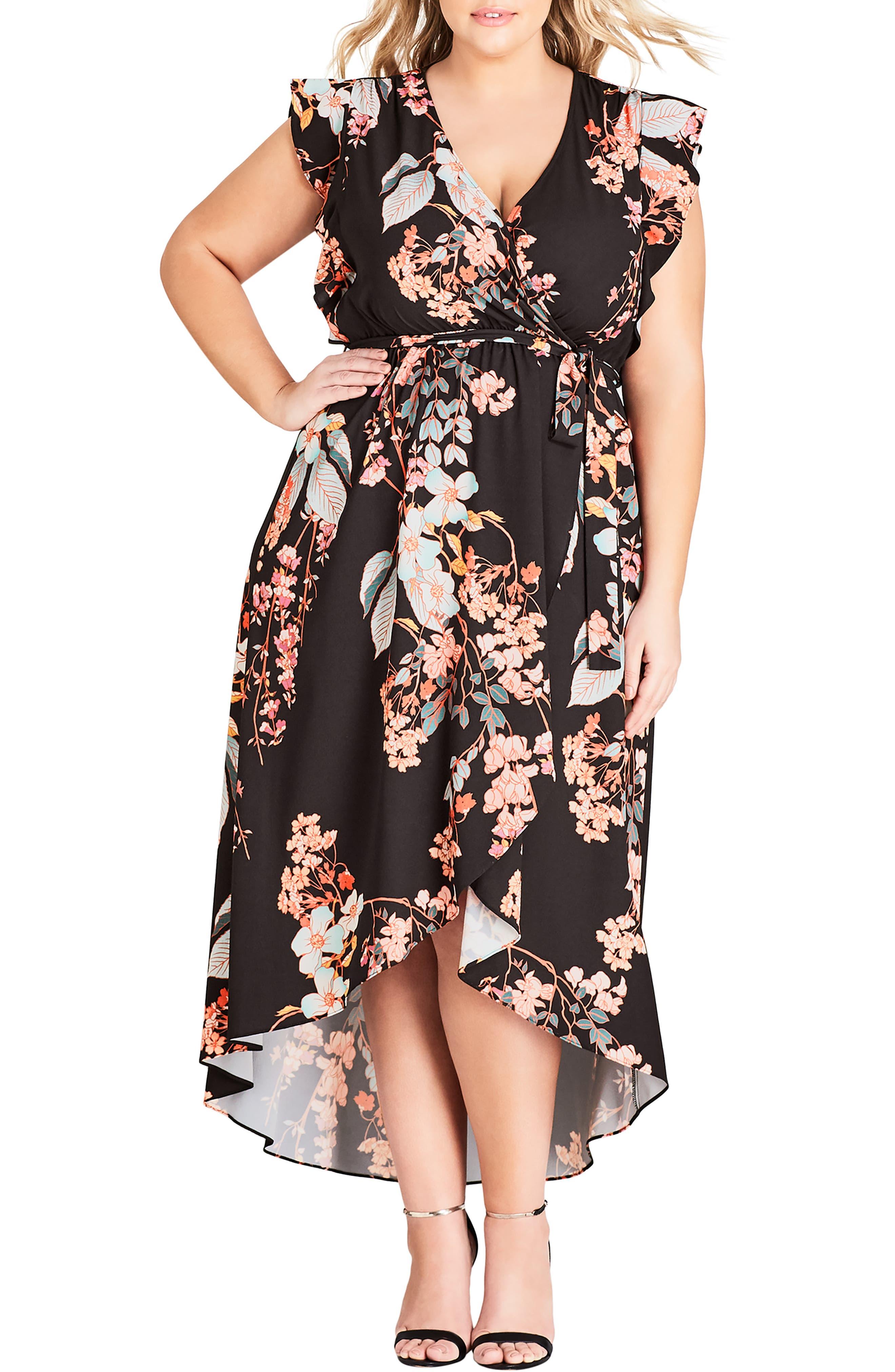 CITY CHIC Delilah Faux Wrap Maxi Dress, Main, color, DELILAH