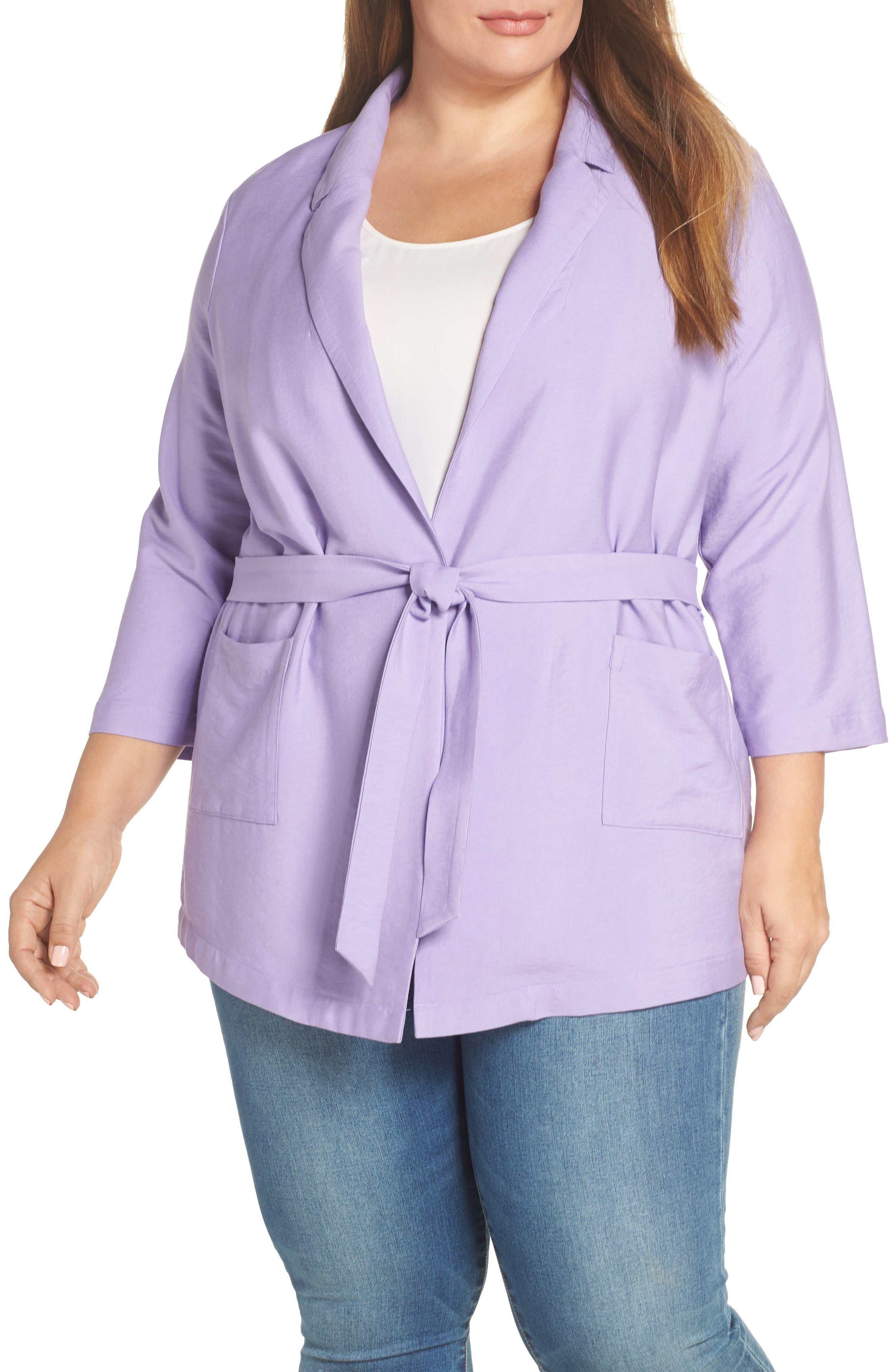 Belted Jacket,                             Alternate thumbnail 2, color,                             PURPLE BONNET