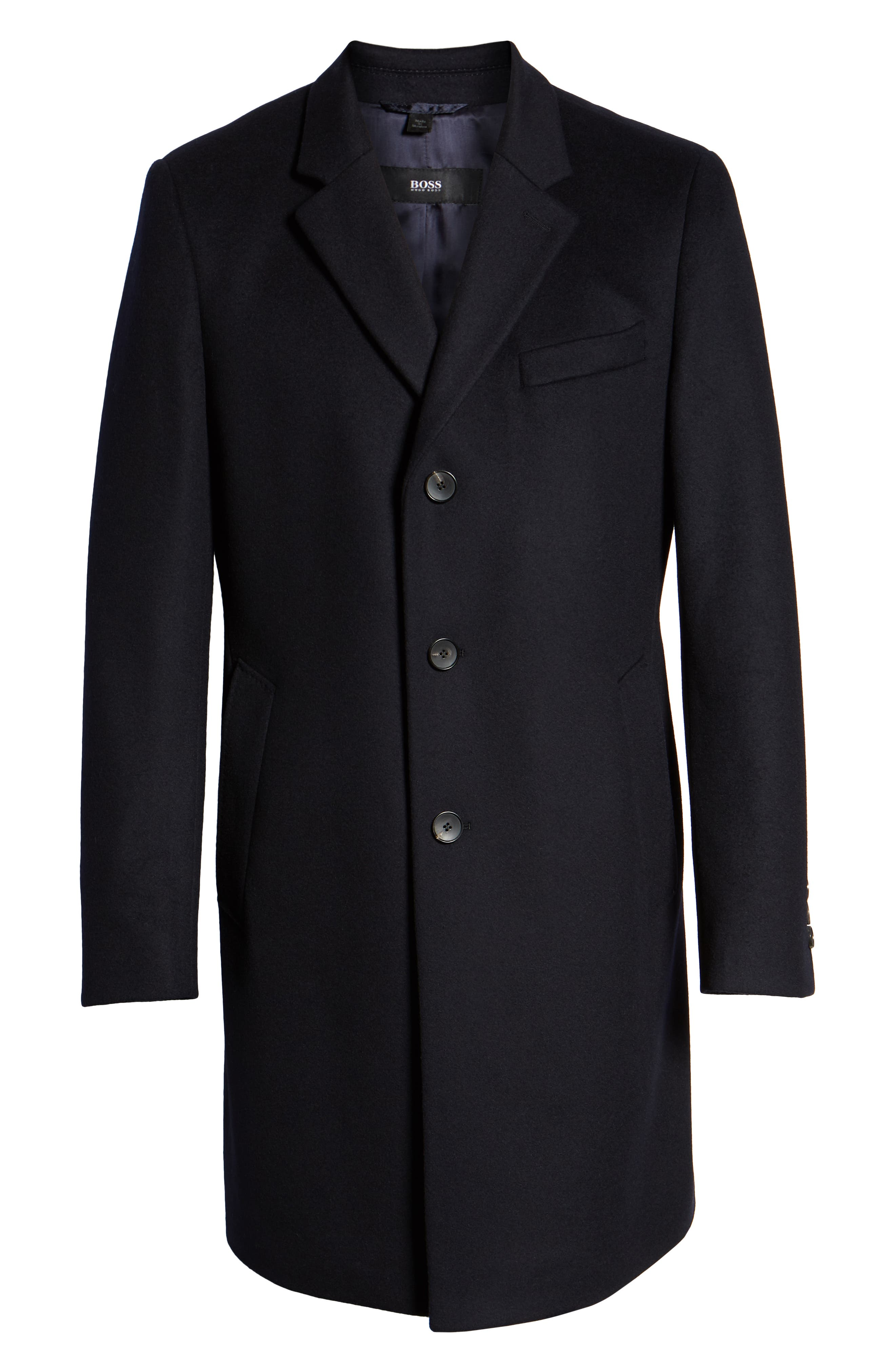 BOSS,                             Nye Regular Fit Solid Wool & Cashmere Topcoat,                             Alternate thumbnail 6, color,                             DARK BLUE